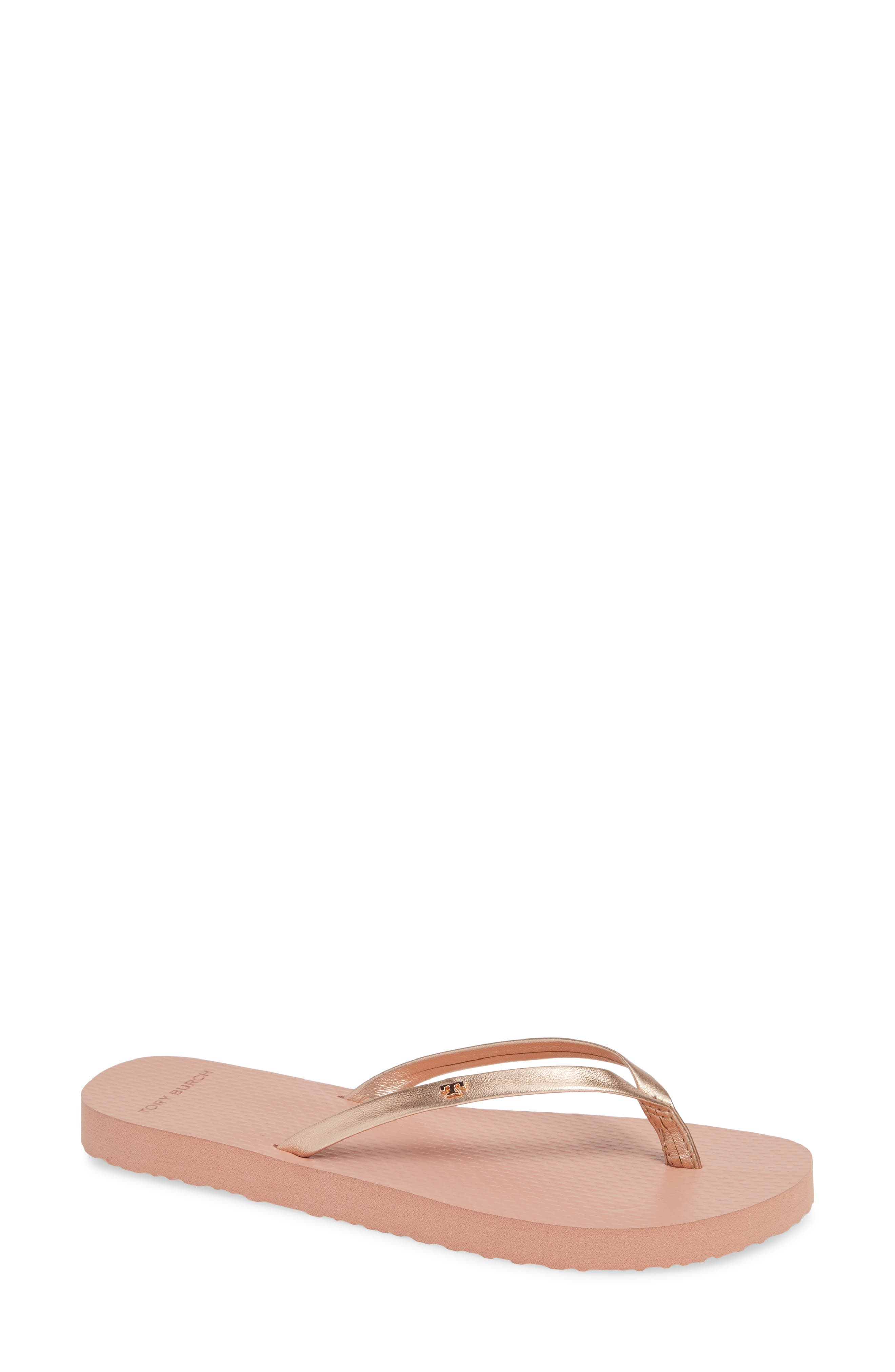Metallic Leather Flip-Flops in Rose Gold/ Rose