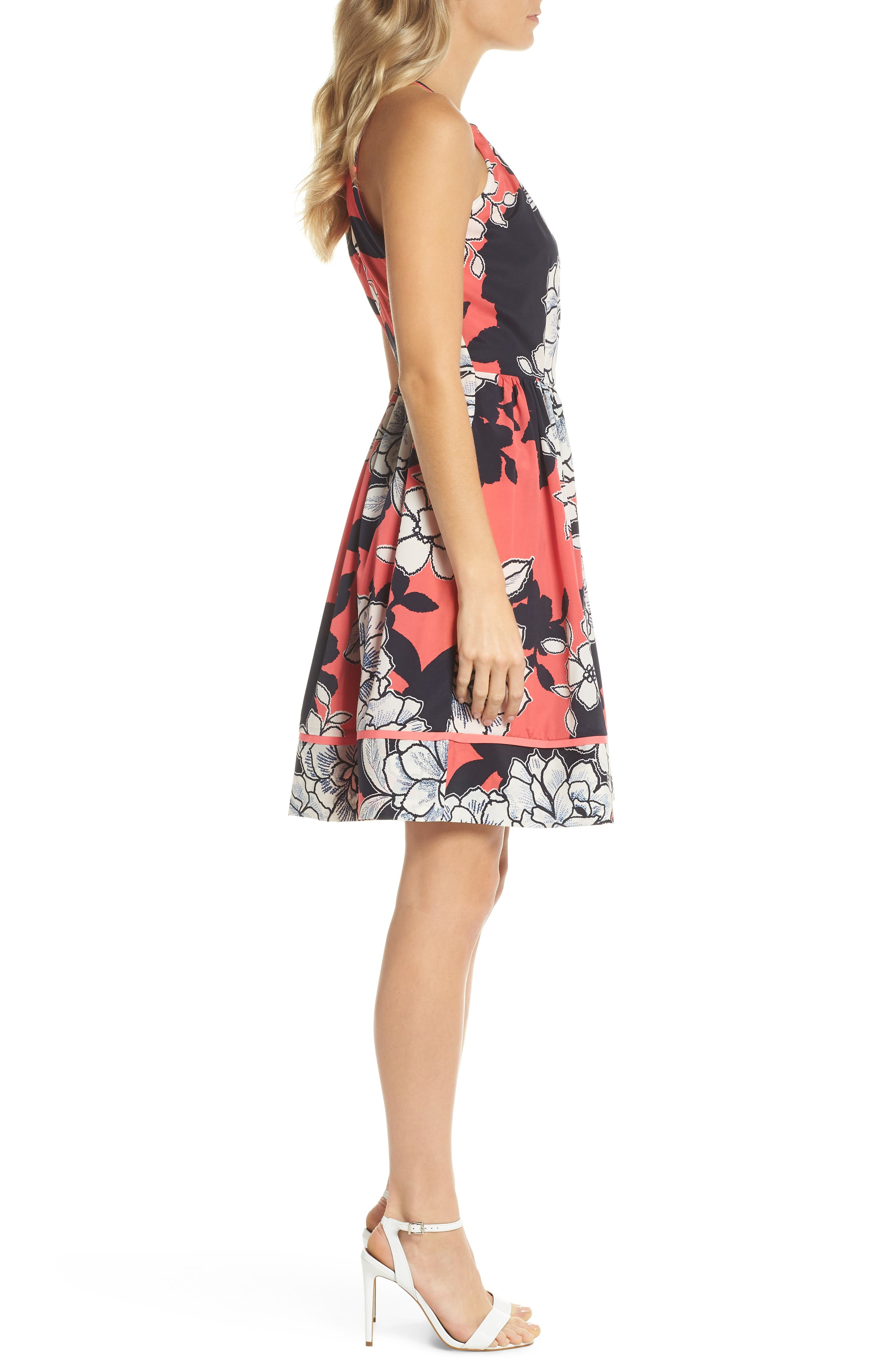 Floral Fit-and-Flare Dress,                             Alternate thumbnail 3, color,                             PINK MULTI