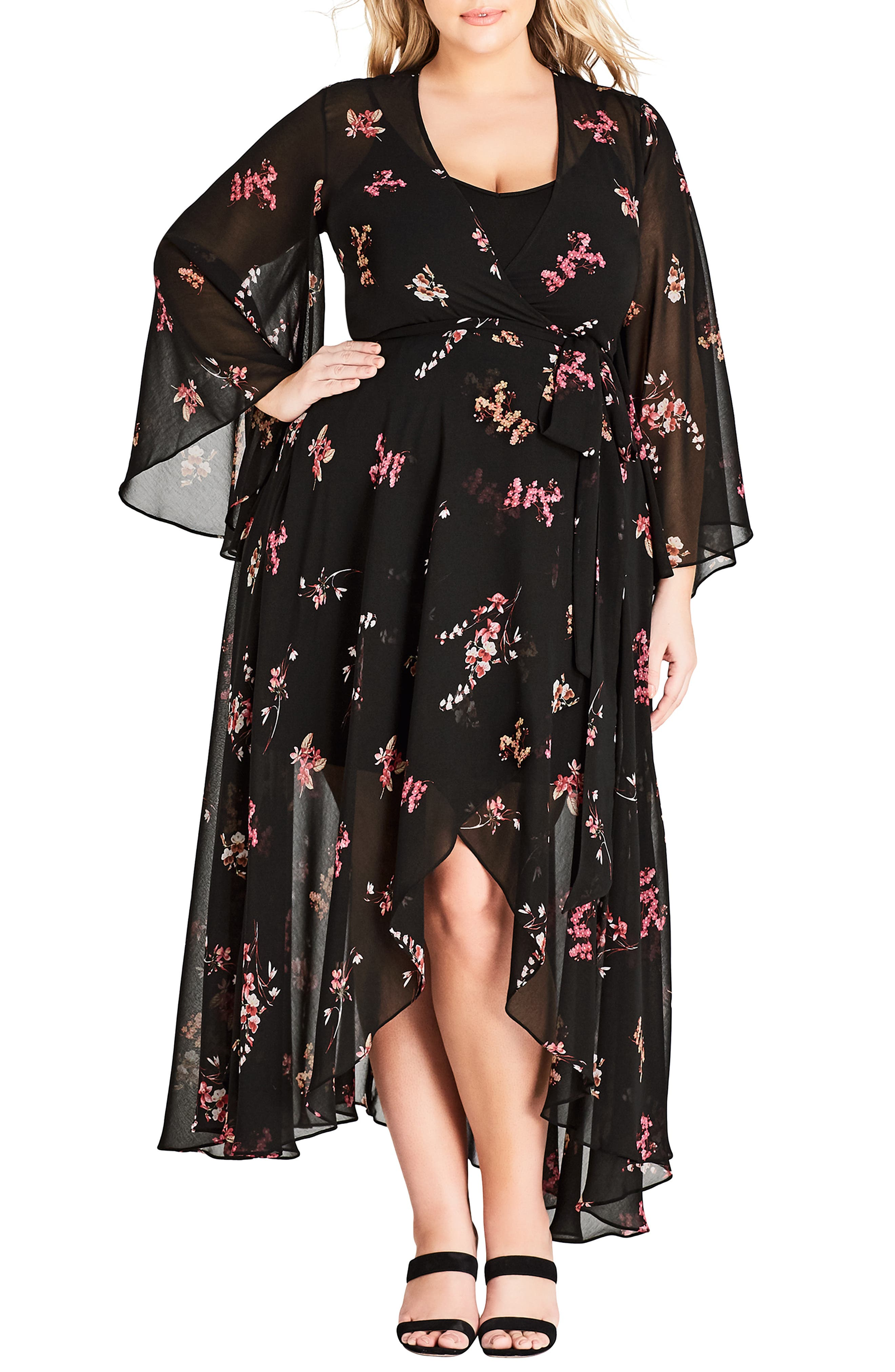 Plus Size City Chic Akira Floral Wrap Style Dress, Black