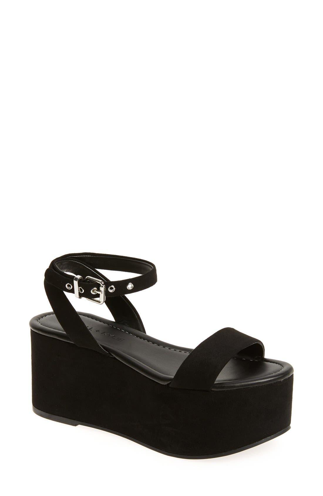 'Demi' Platform Sandal,                             Main thumbnail 1, color,                             001