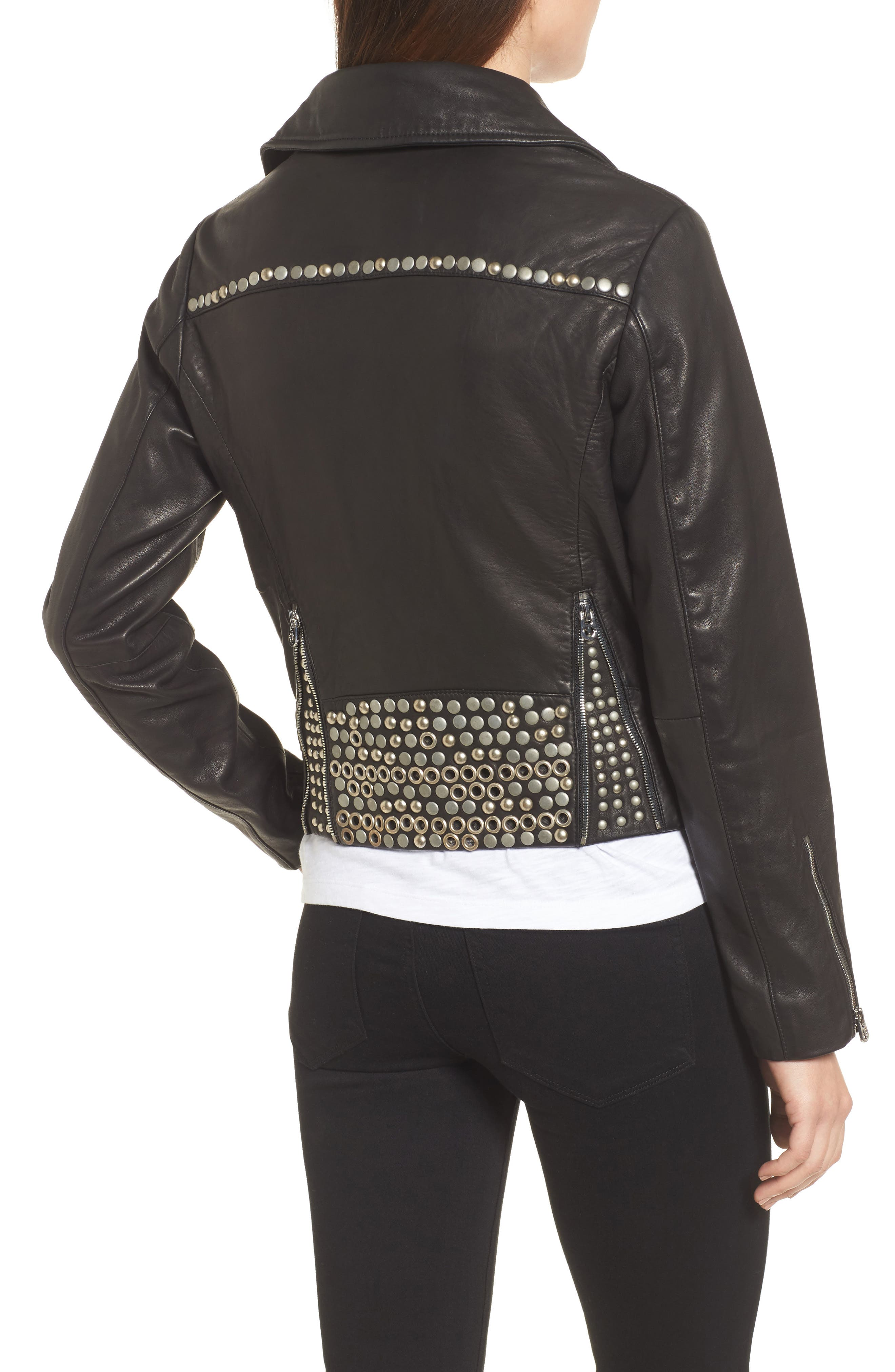 Studded Leather Jacket,                             Alternate thumbnail 2, color,