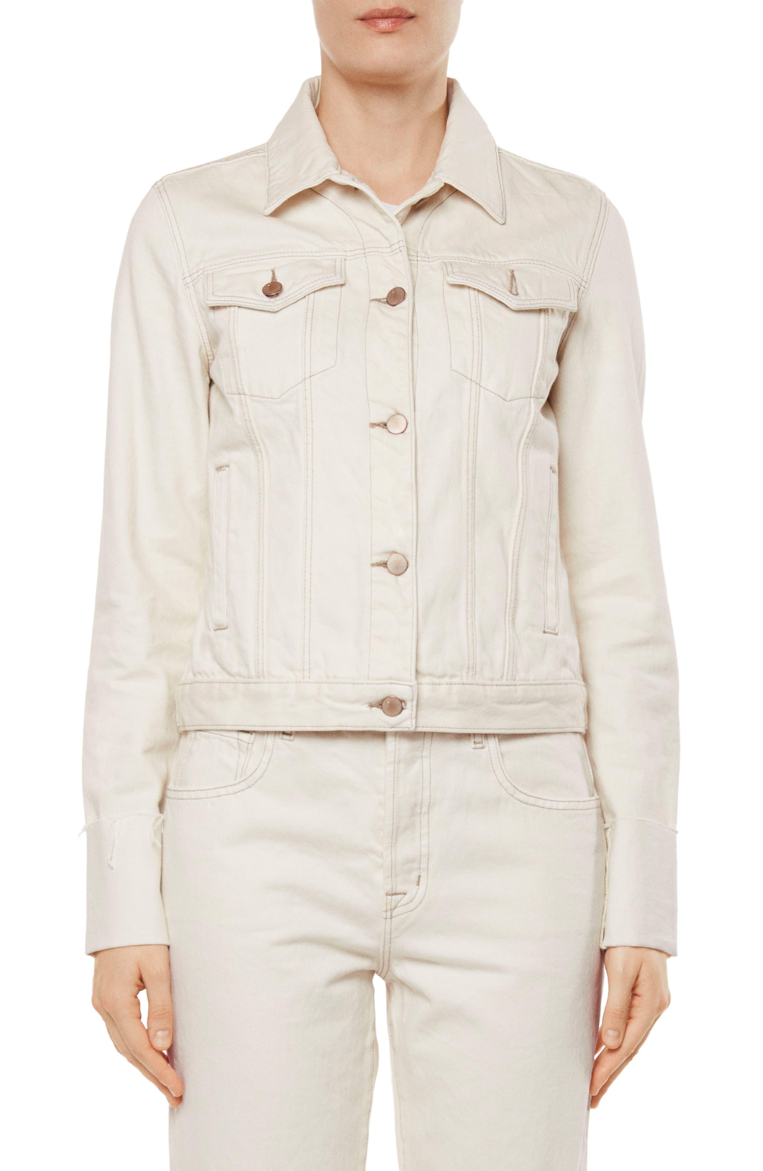 Raw Edge Cuff Denim Jacket,                         Main,                         color, 107