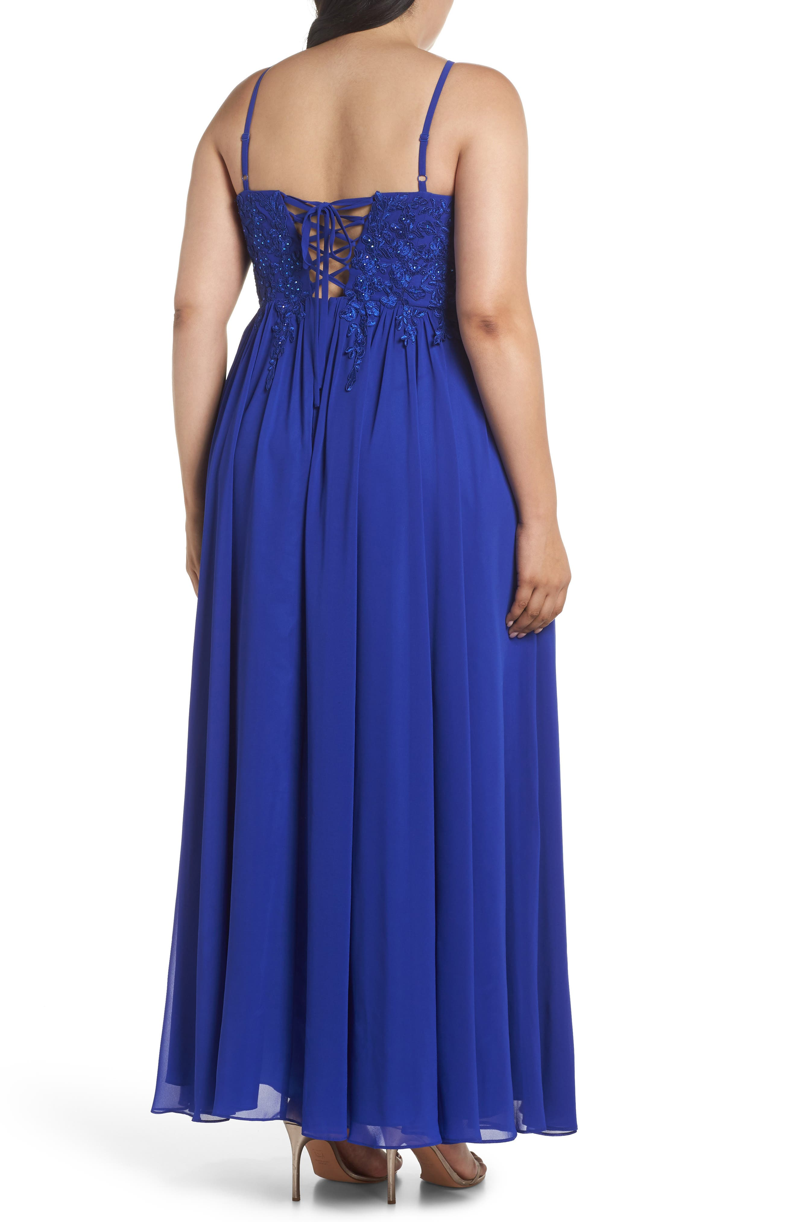 Embroidered Bodice Halter Top Maxi Dress,                             Alternate thumbnail 2, color,                             ROYAL