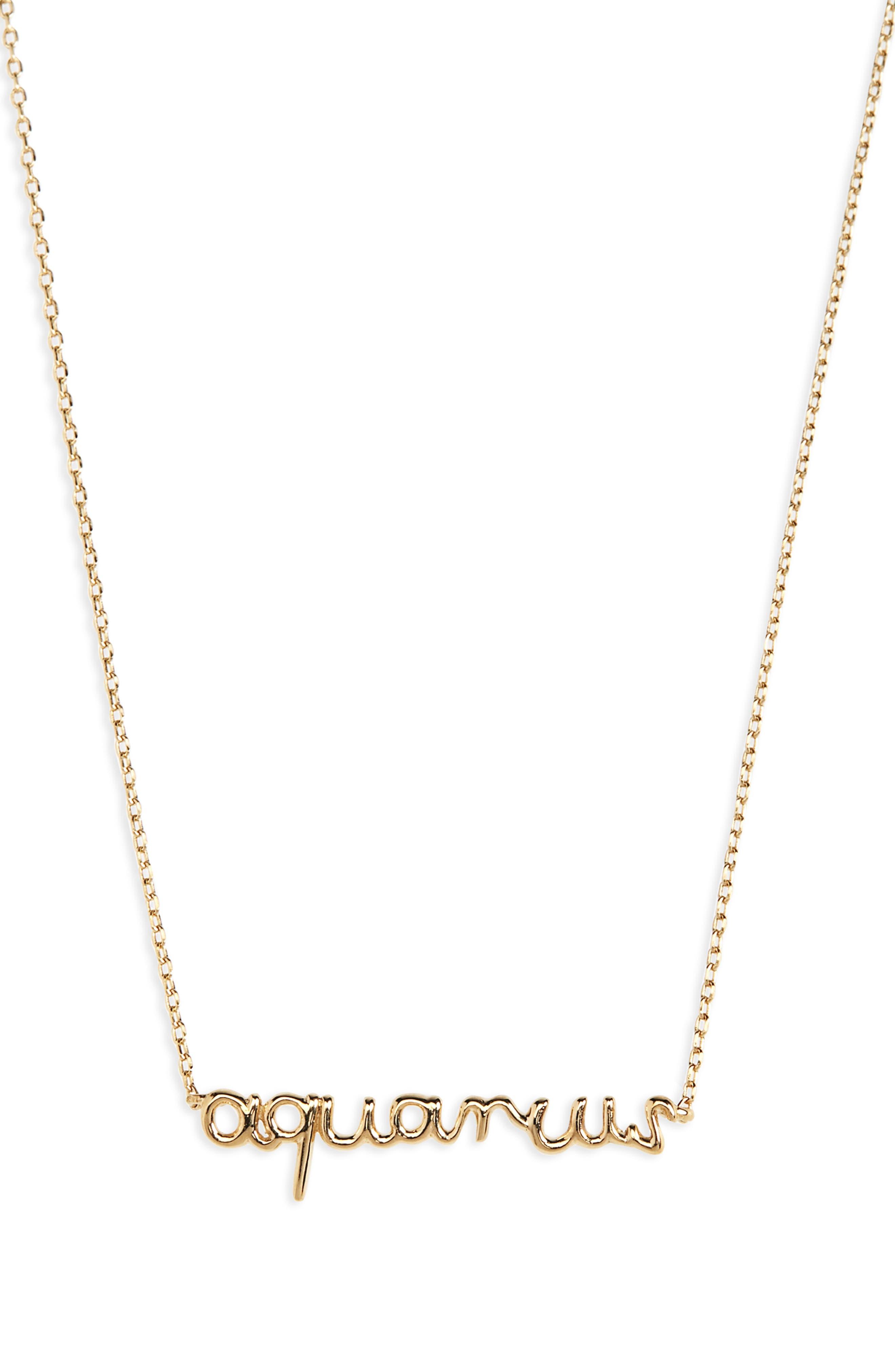 Vermeil Astrological Sign Necklace, Main, color, AQUARIUS