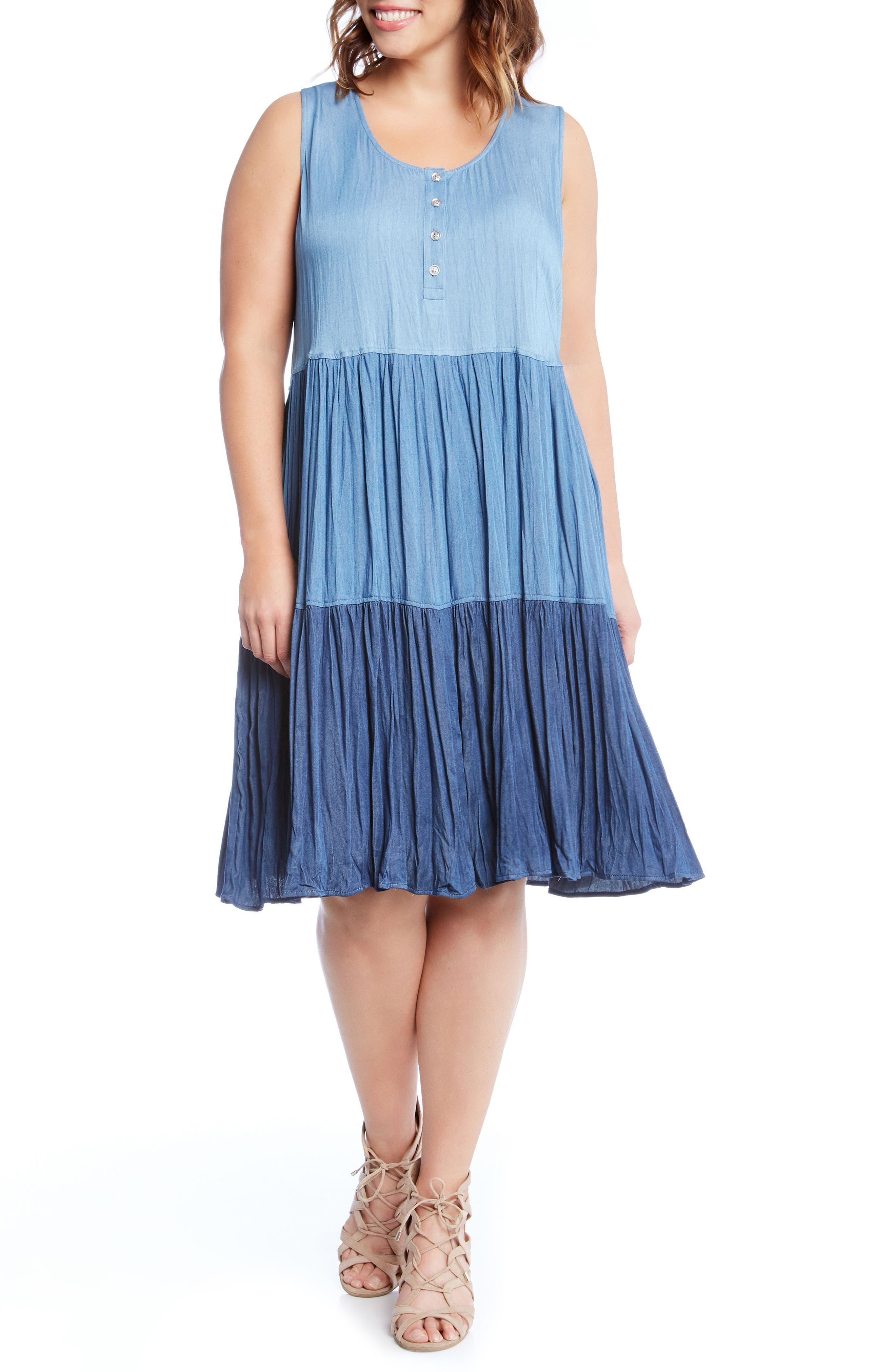 Tiered Chambray Dress,                             Main thumbnail 1, color,
