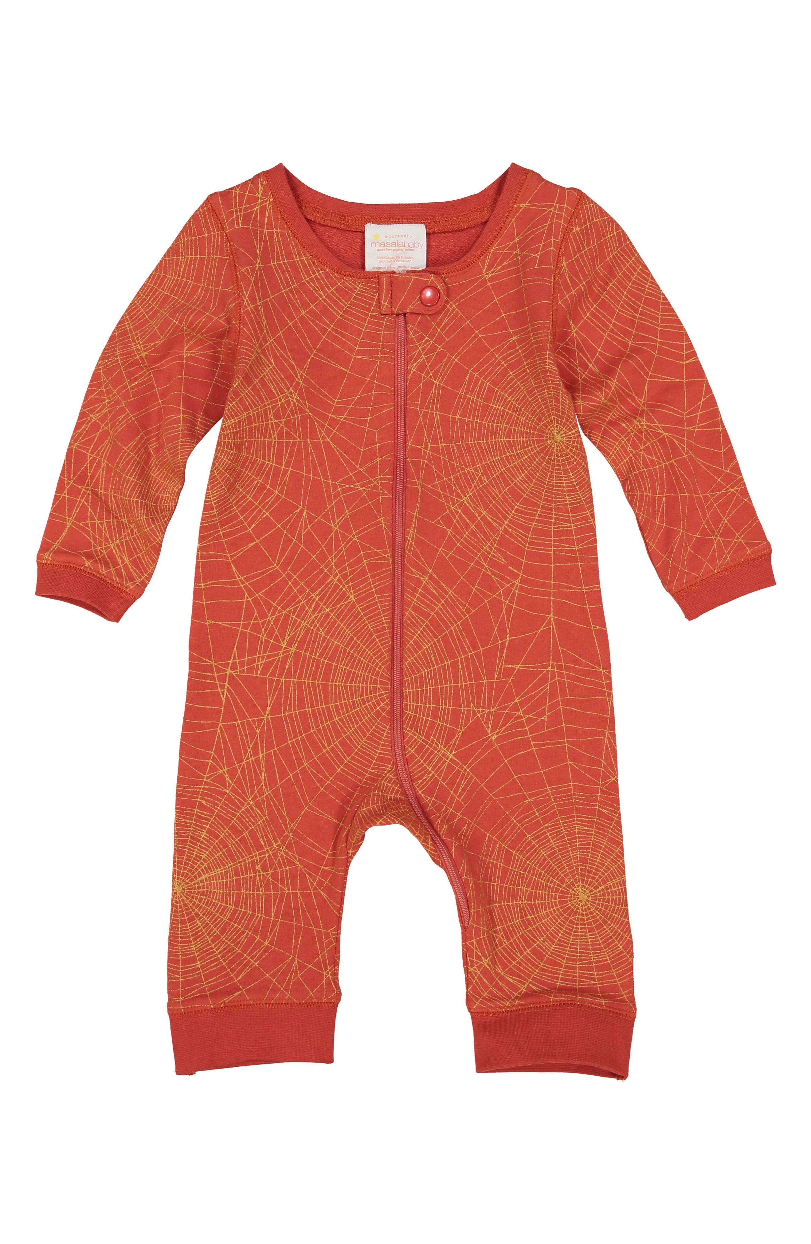 Golden Web Stretch Organic Cotton One-Piece,                             Main thumbnail 1, color,                             RED