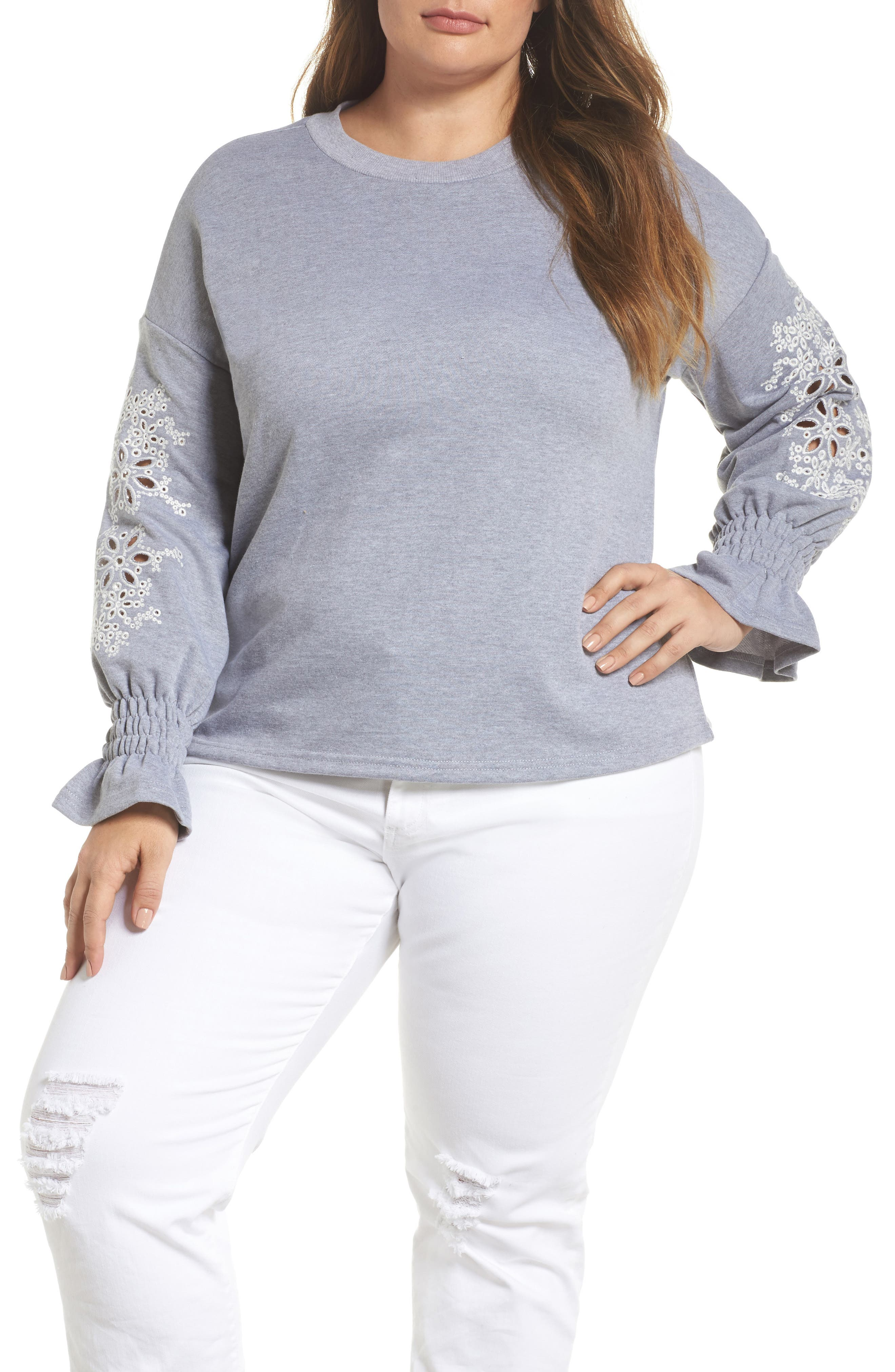Broderie Anglaise Embellished Sweatshirt,                         Main,                         color, 020