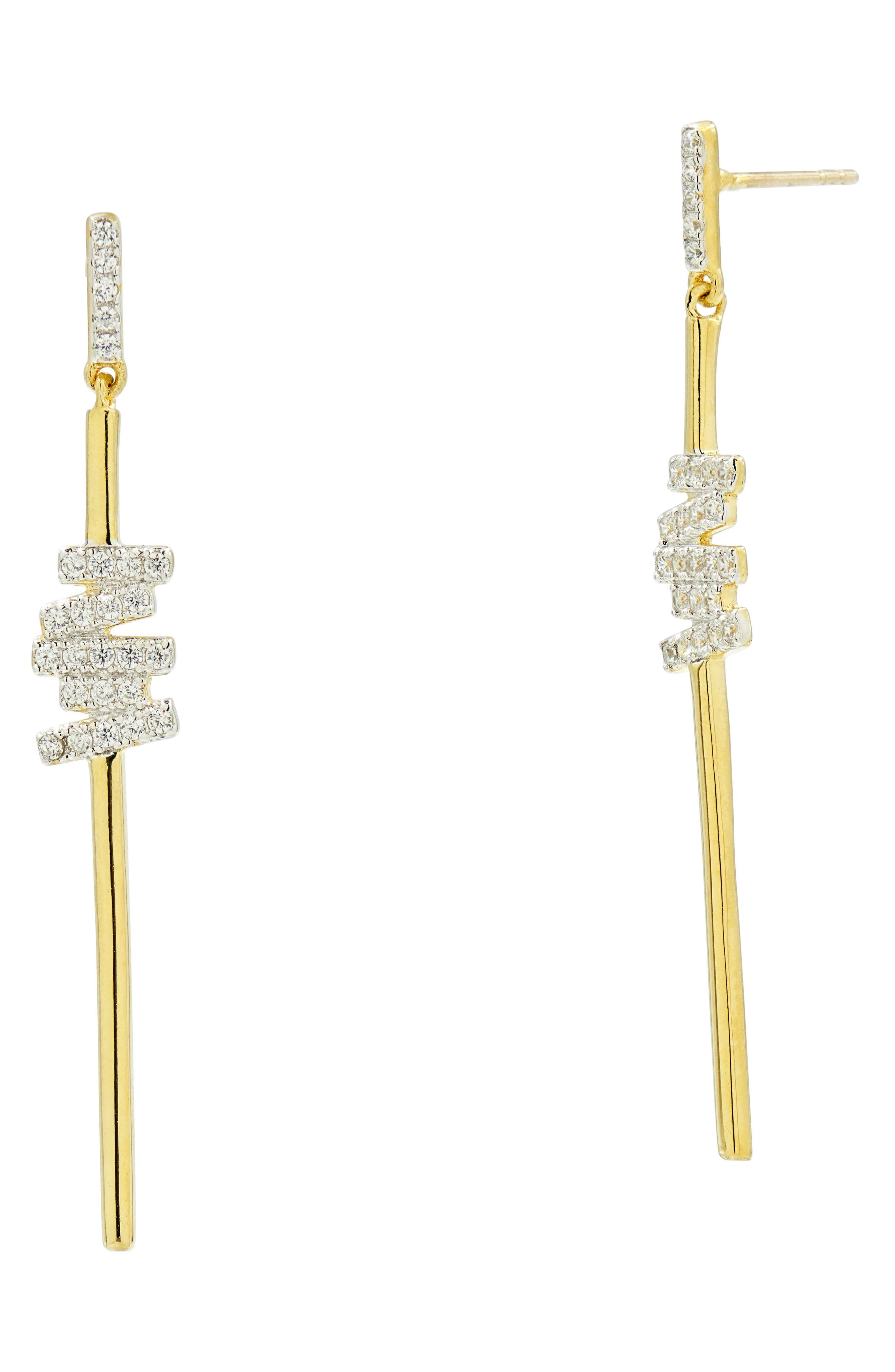 Radiance Cubic Zirconia Drop Earrings,                             Main thumbnail 1, color,                             SILVER/ GOLD