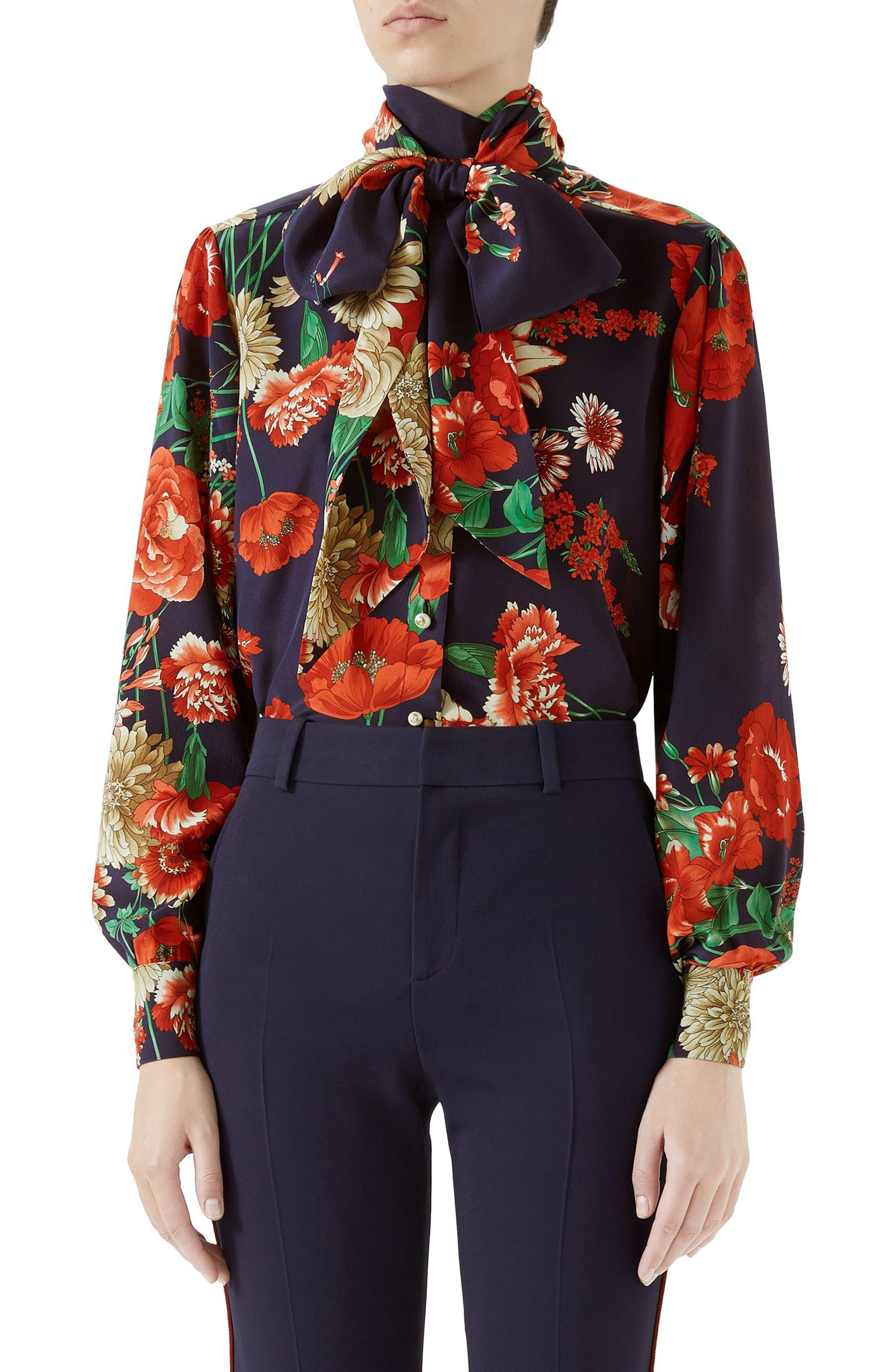 Spring Bouquet Print Tie Neck Silk Blouse,                             Main thumbnail 1, color,                             BLUE/ RED PRINT