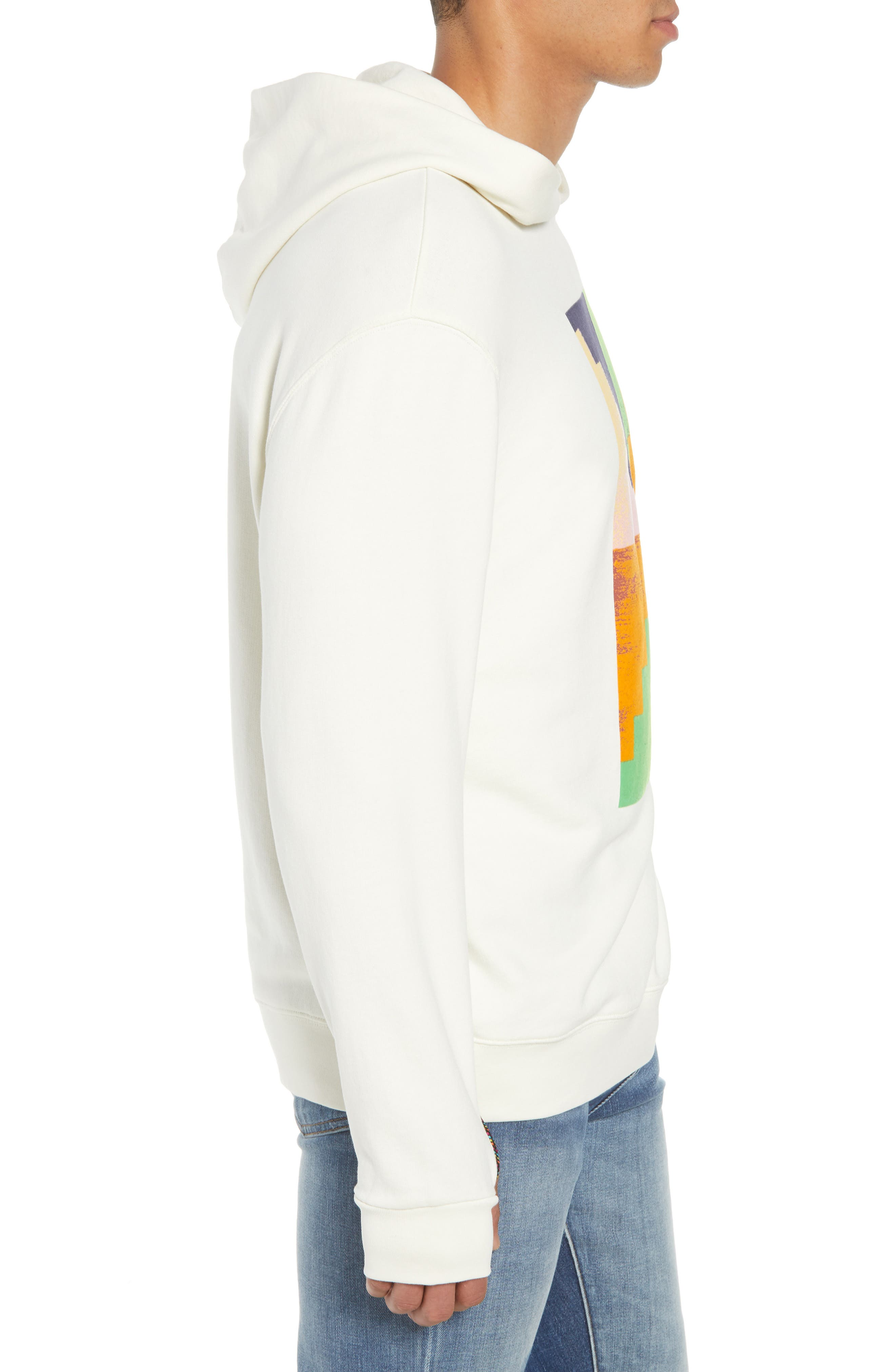 Pyramid Classic Fit Hoodie,                             Alternate thumbnail 3, color,                             OFF WHITE