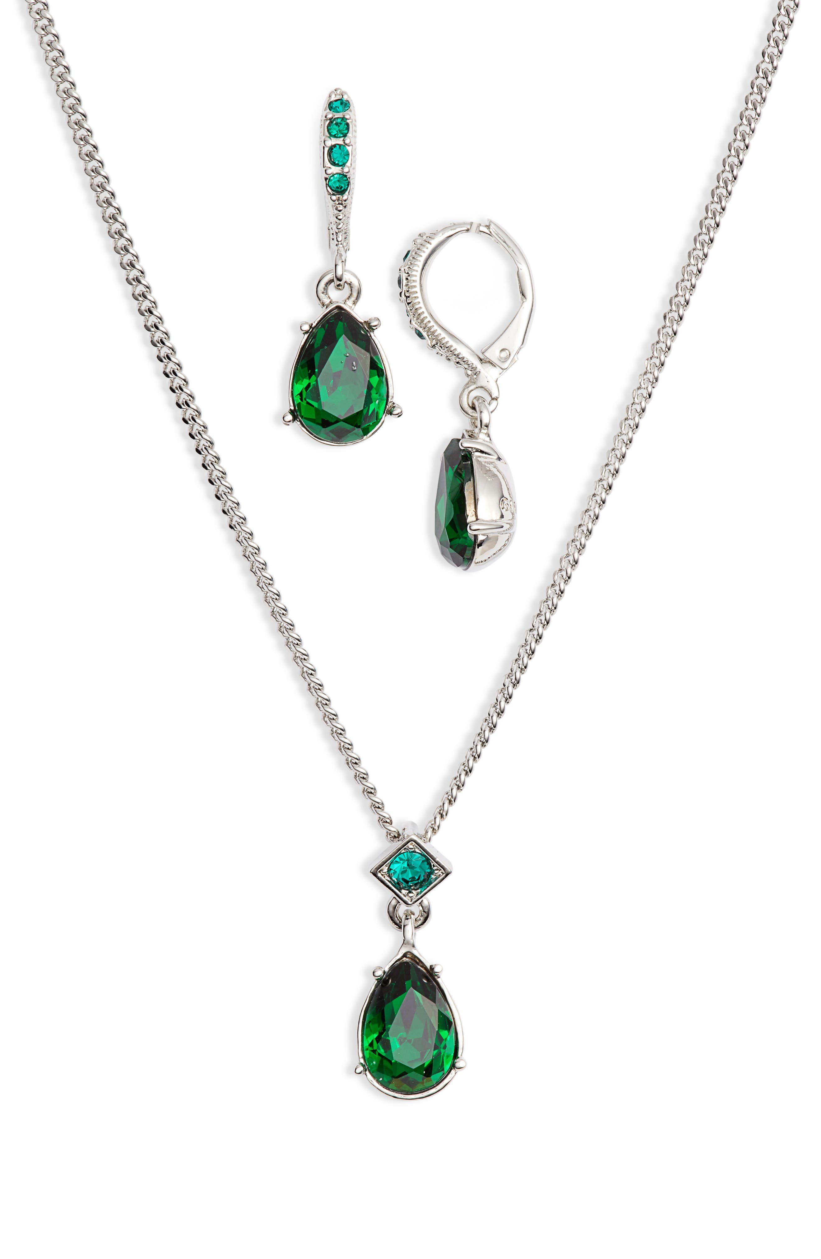 Drop Necklace & Earrings Set,                         Main,                         color, GREEN/ SILVER