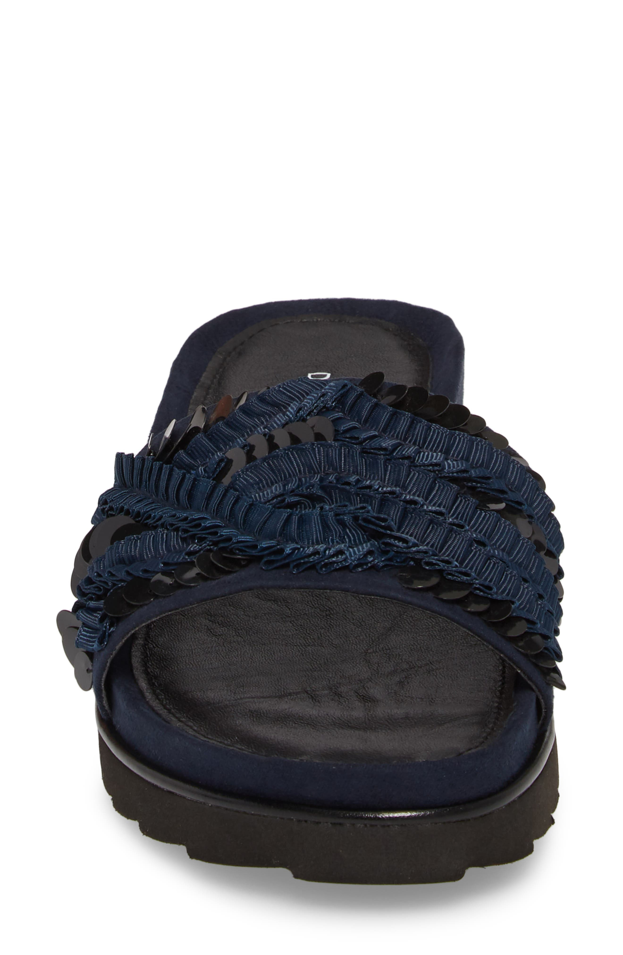 Cava Slide Sandal,                             Alternate thumbnail 4, color,                             NAVY SUEDE
