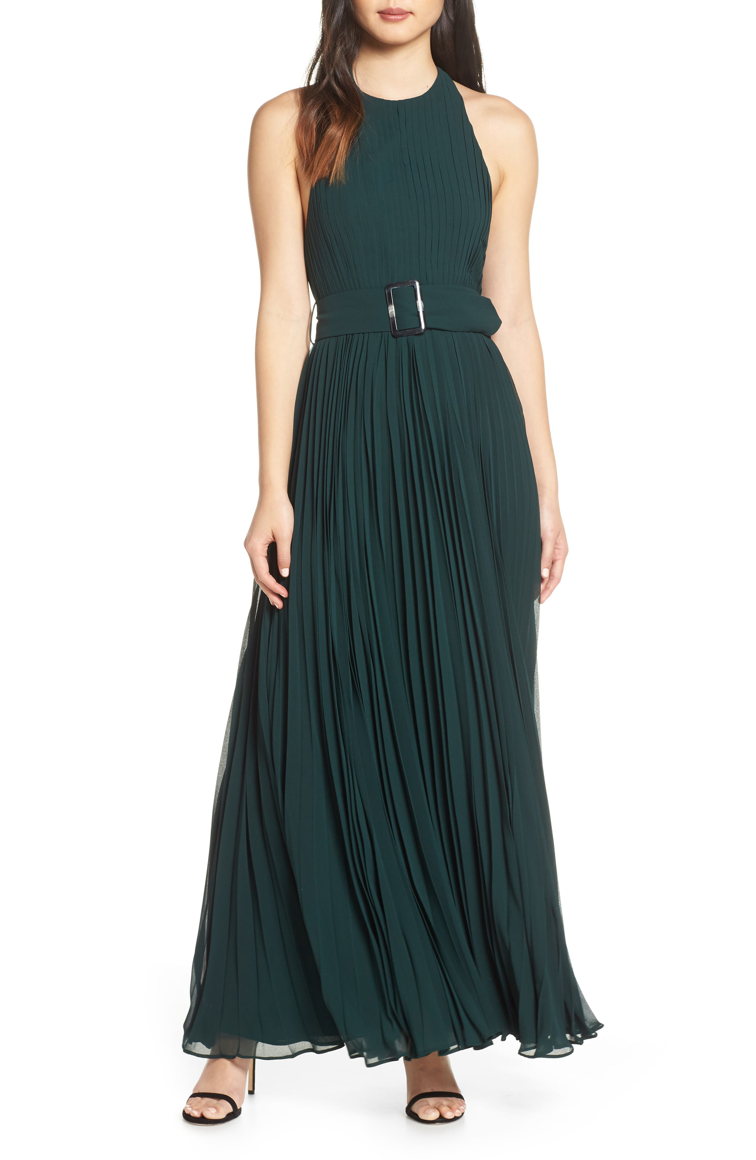 Fame And Partners The Felice Halter Evening Dress, Green