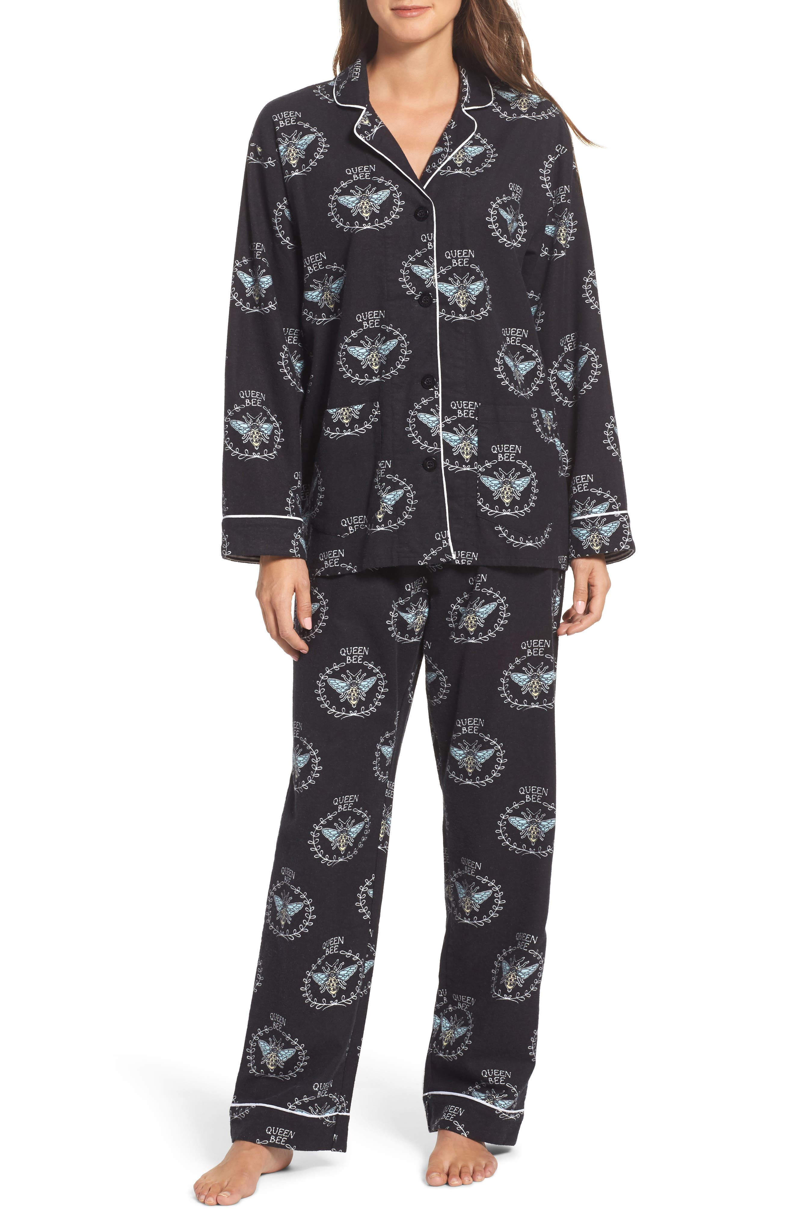 Print Flannel Pajamas,                         Main,                         color, 001