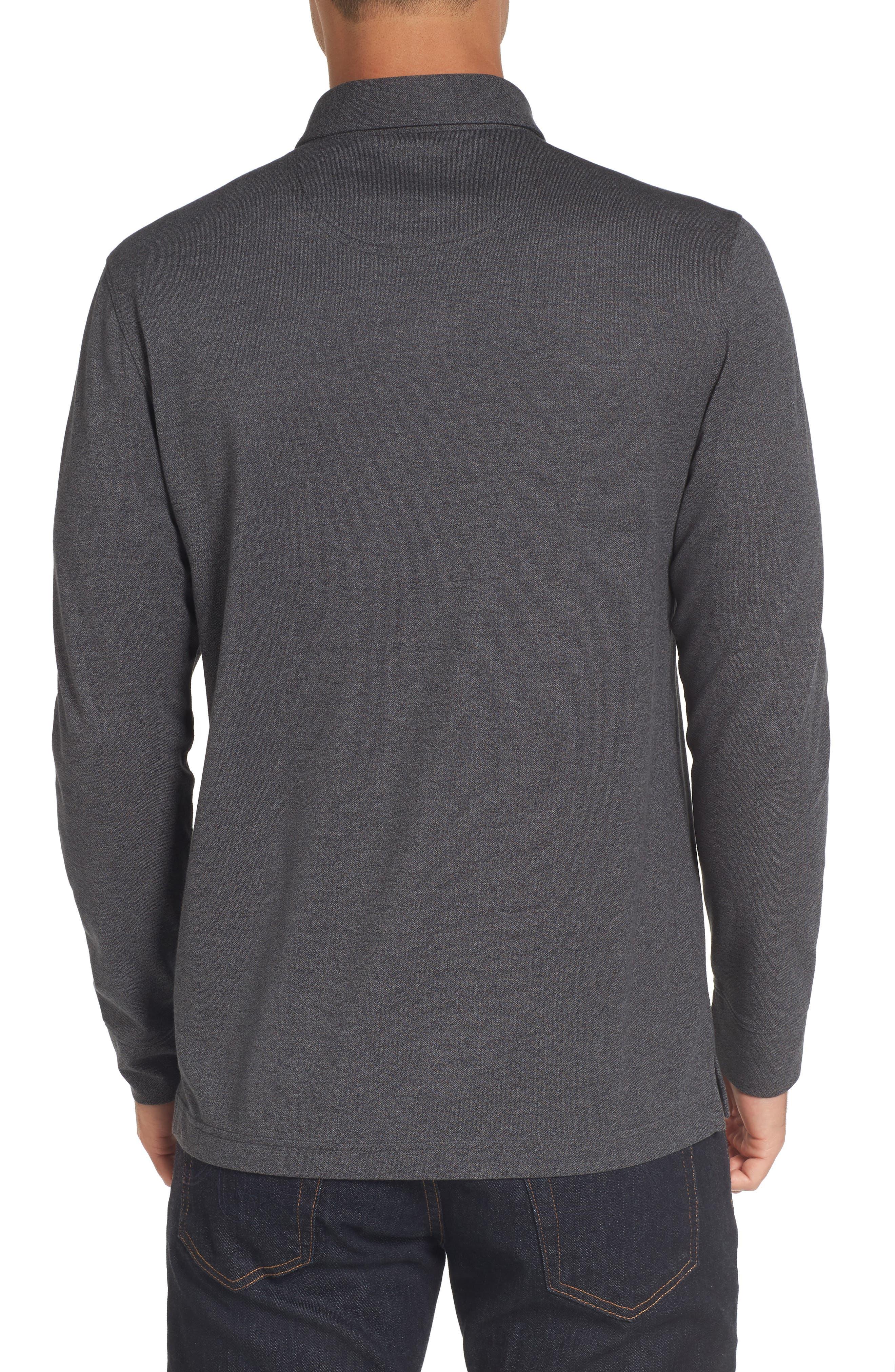 Long Sleeve Polo,                             Alternate thumbnail 2, color,                             BLACK CAVIAR MELANGE