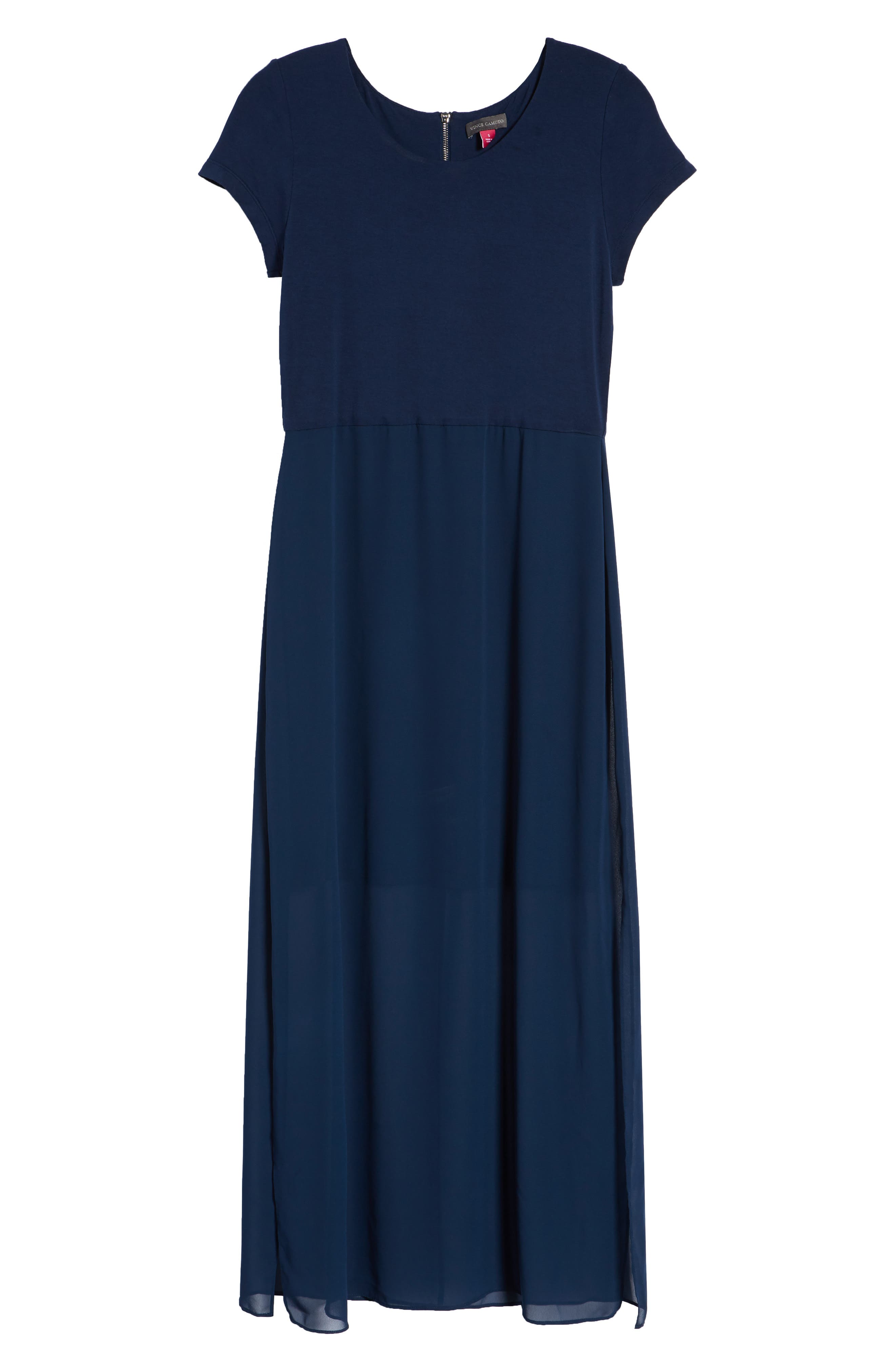 Chiffon Overlay Maxi Dress,                             Alternate thumbnail 7, color,                             HIGH TIDE