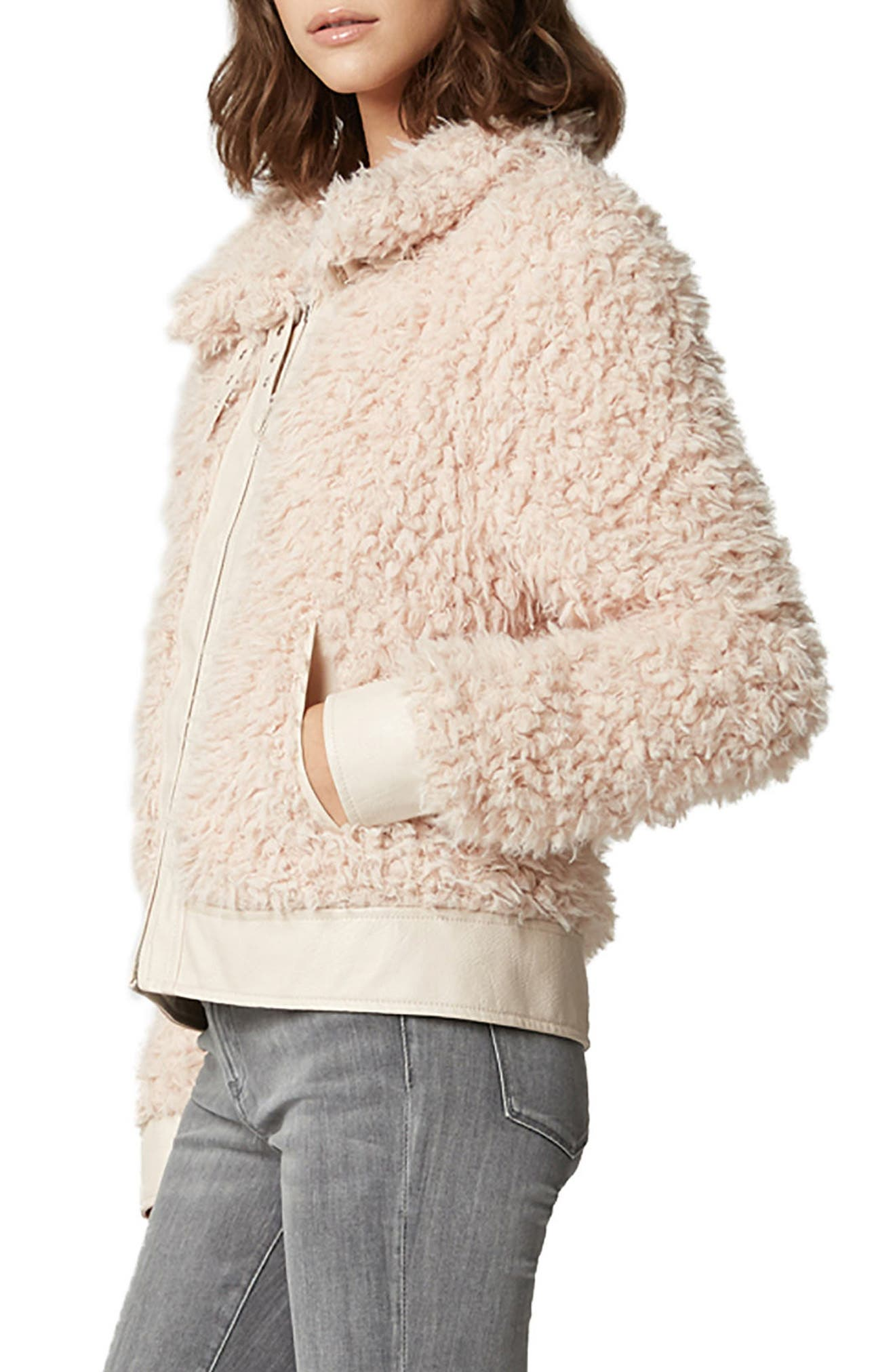 Curly Faux Shearling Jacket,                             Alternate thumbnail 3, color,                             CLOUD NINE