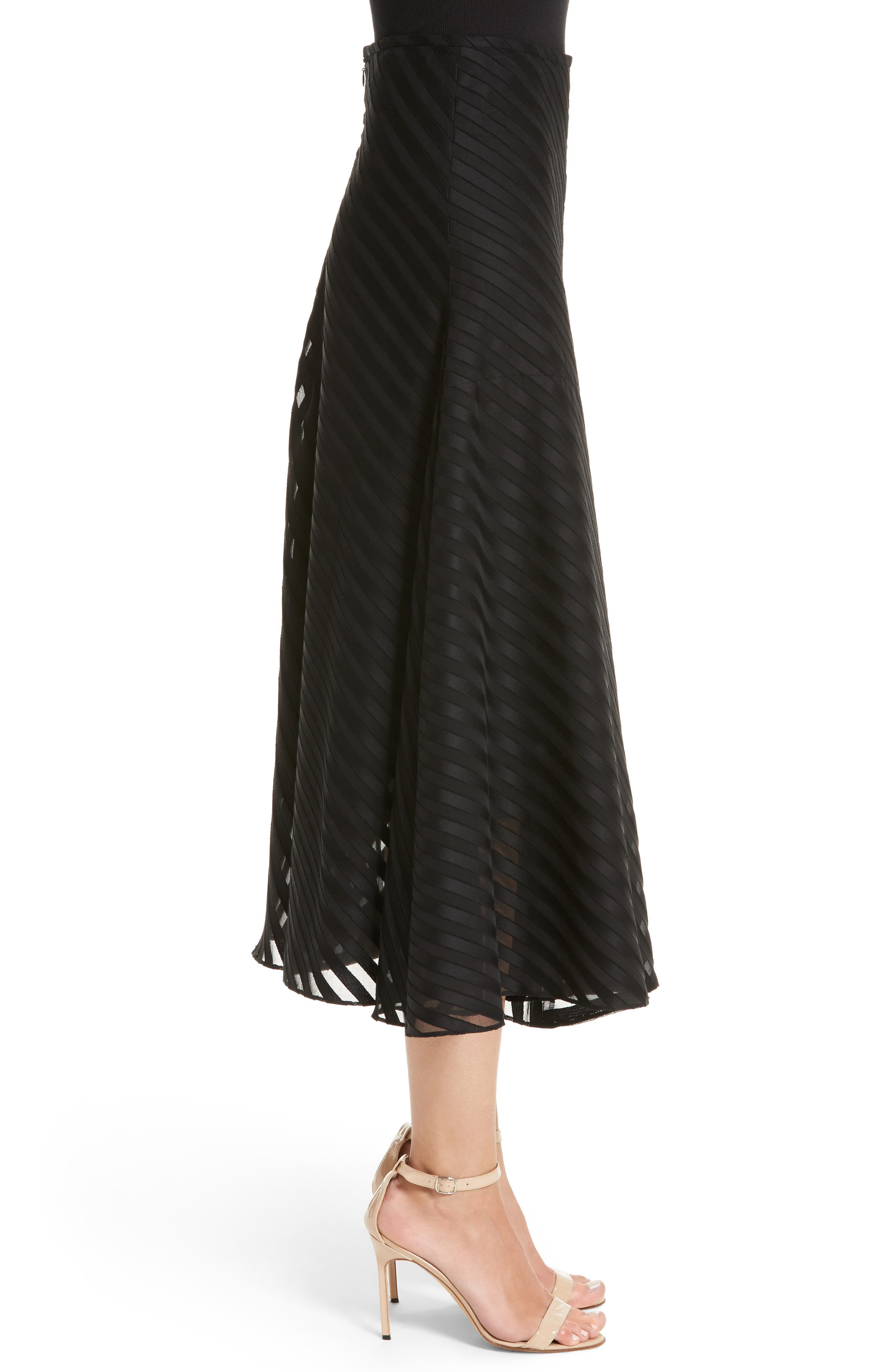 Diagonal Stripe Cotton Voile Midi Skirt,                             Alternate thumbnail 3, color,                             009