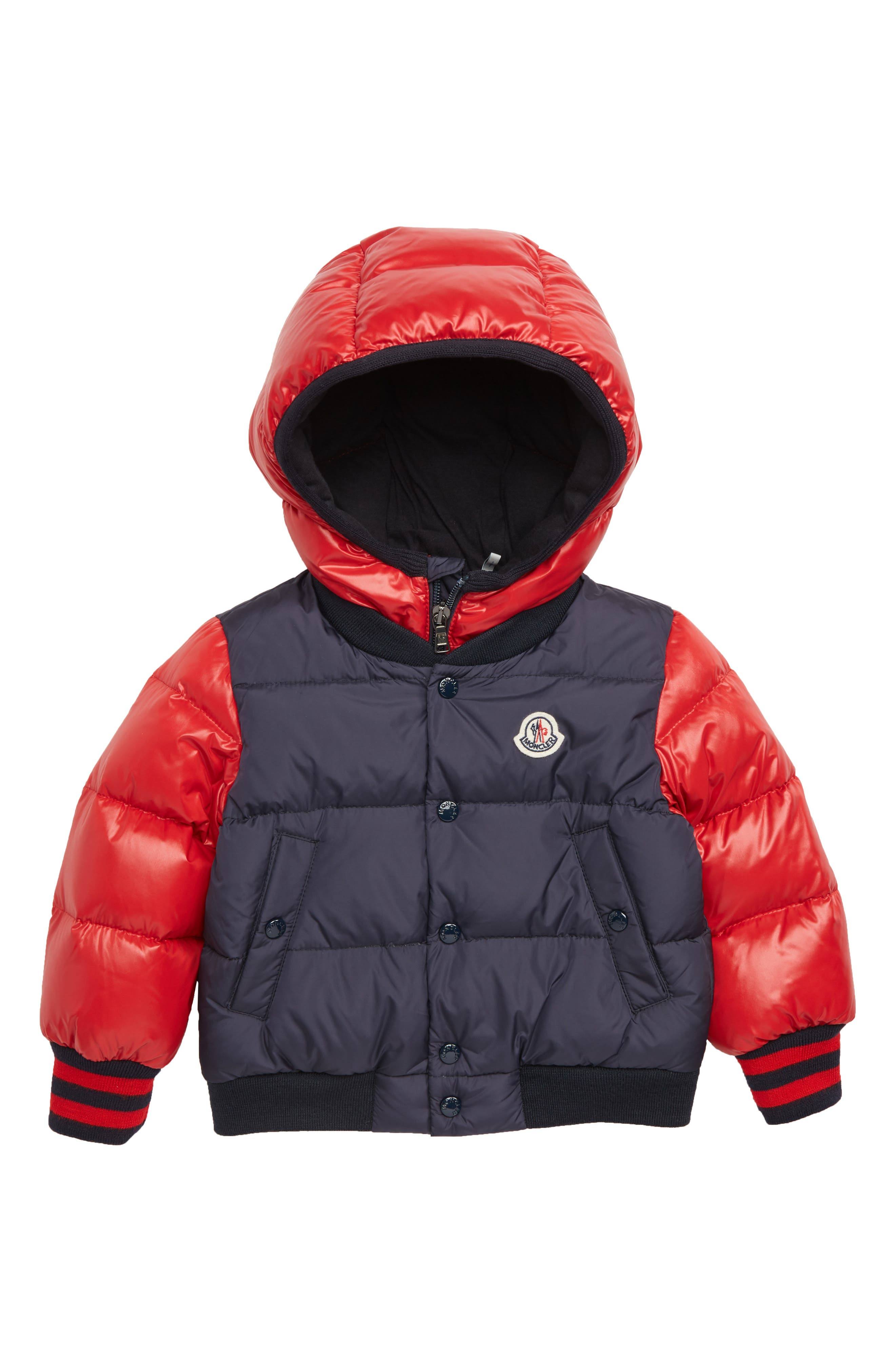Monieux Varsity Down Puffer Jacket,                             Main thumbnail 1, color,                             RED NAVY