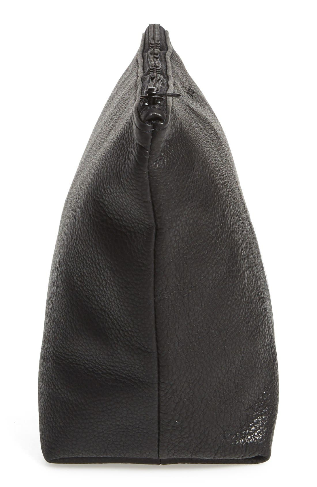 Large Leather Zip Pouch,                             Alternate thumbnail 6, color,                             001