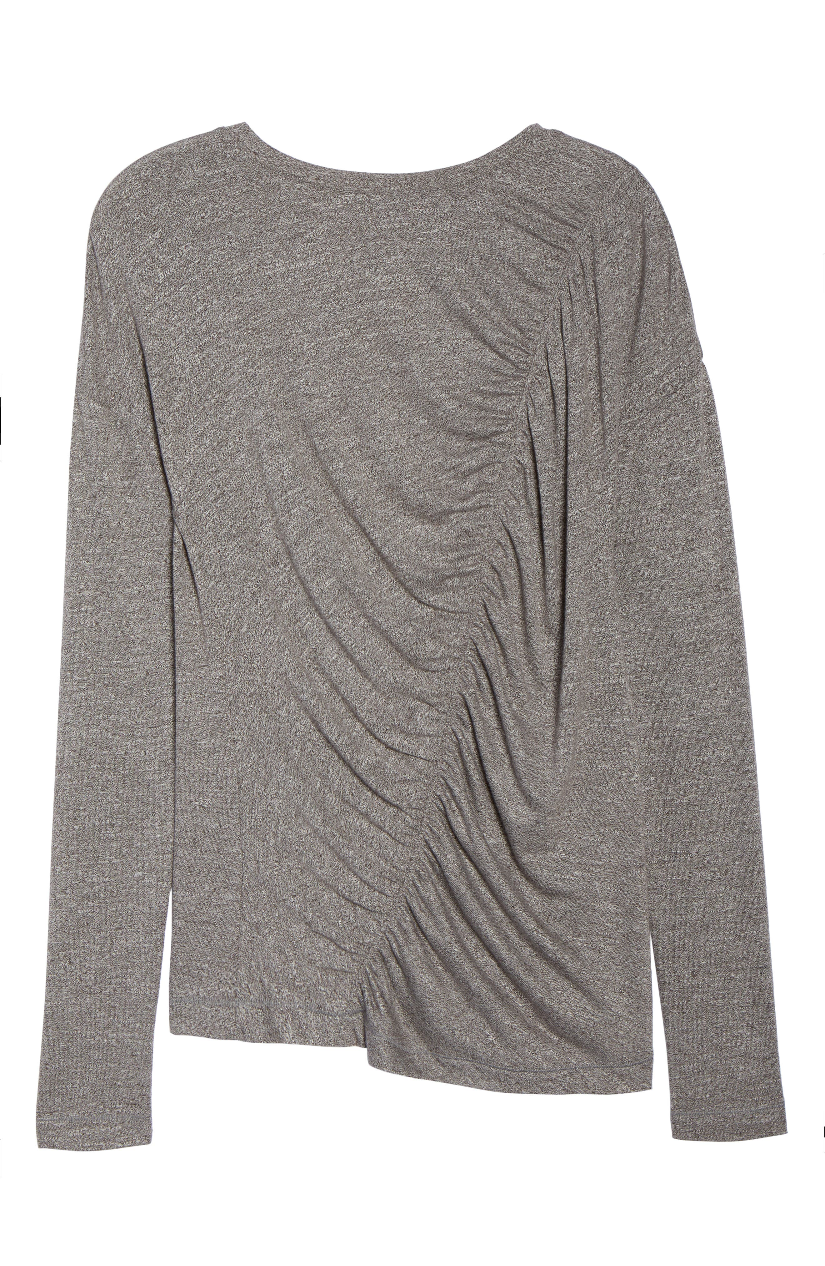So Graceful Ruched Tee,                             Alternate thumbnail 7, color,                             GREY DARK HEATHER
