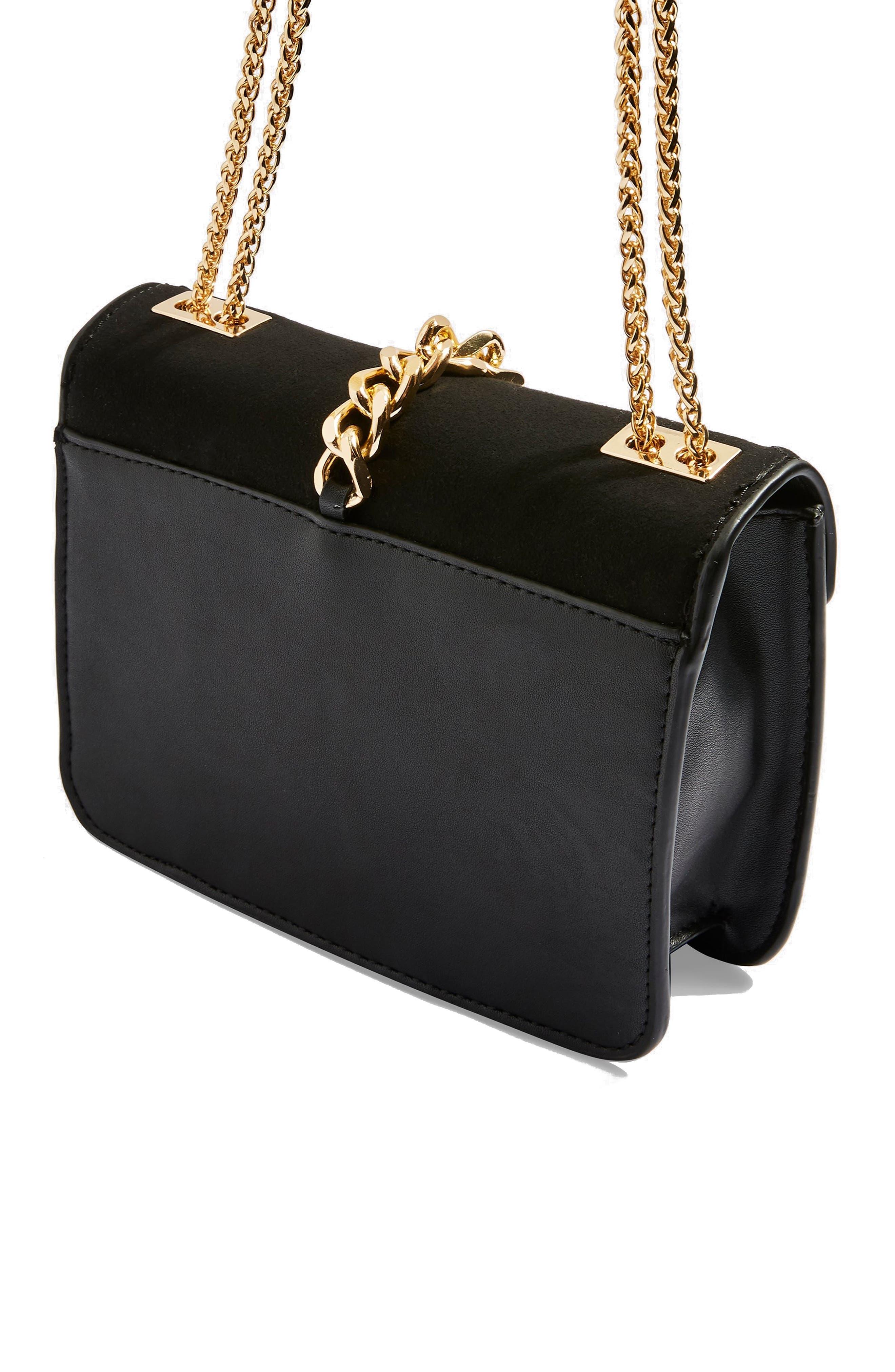 Daisy Chain Faux Leather Crossbody Bag,                             Alternate thumbnail 3, color,                             BLACK MULTI