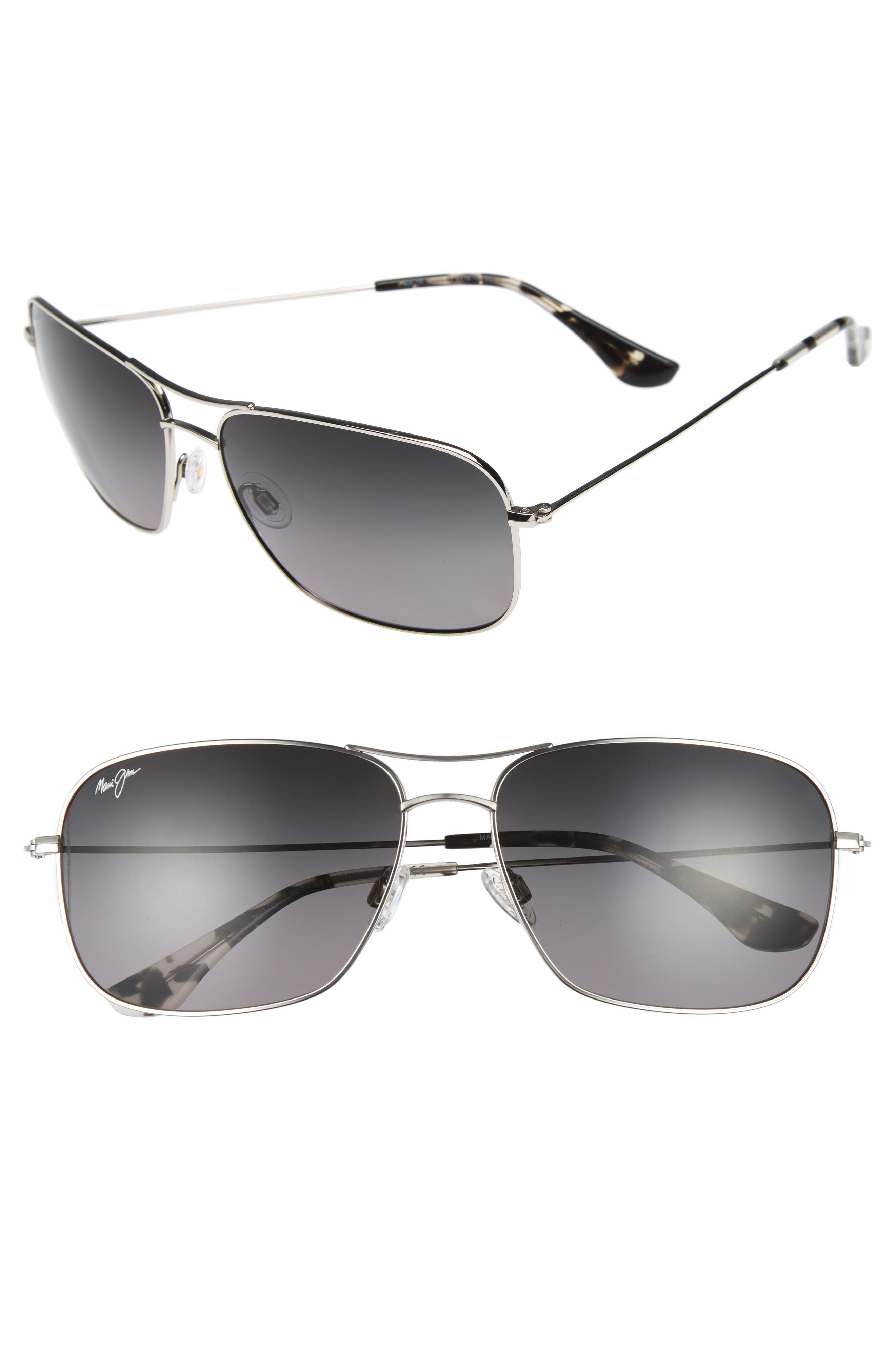 Breezeway 63mm PolarizedPlus2<sup>®</sup> Sunglasses,                         Main,                         color, SILVER