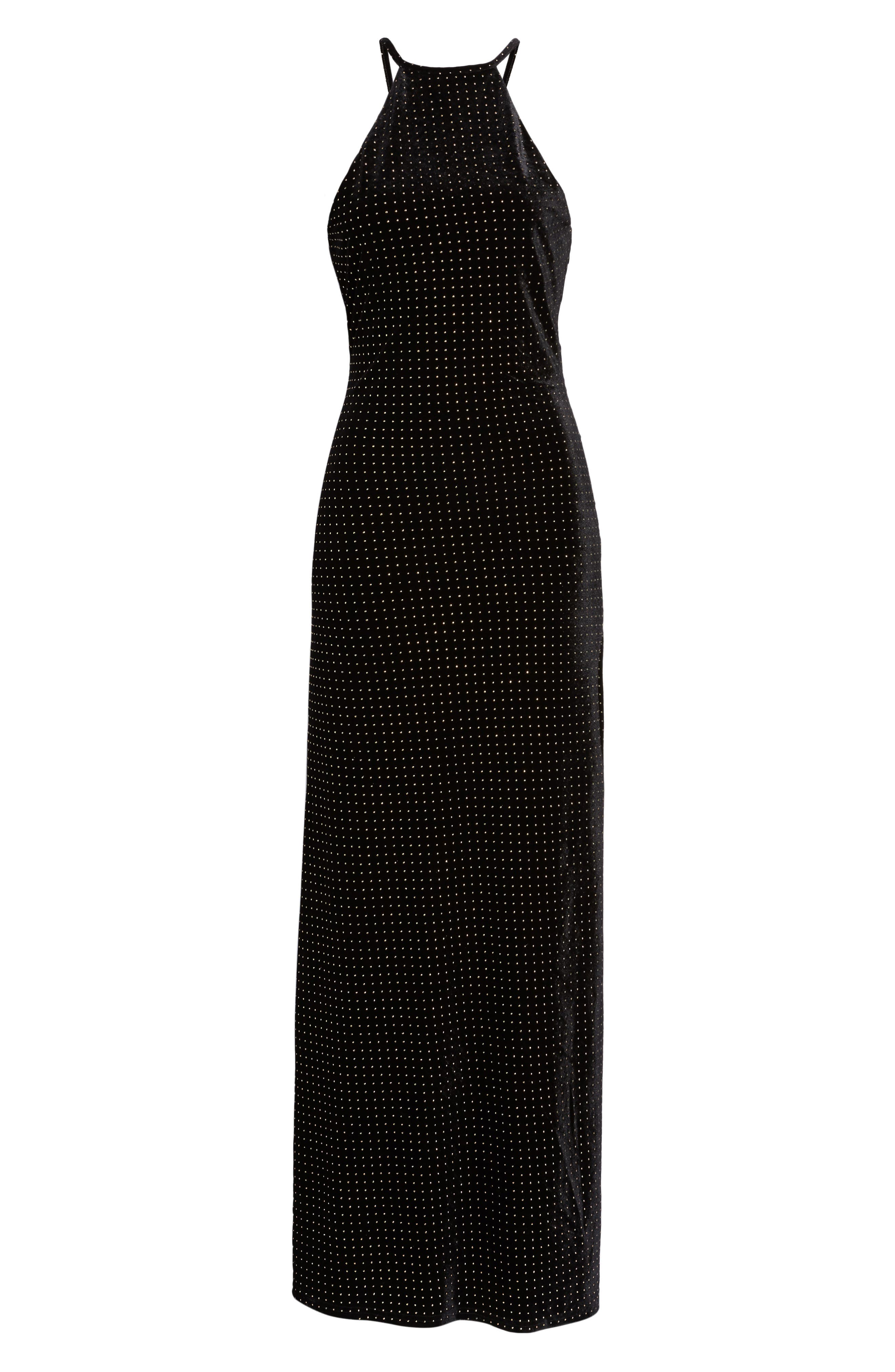 Crenshaw Studded Velvet Gown,                             Alternate thumbnail 6, color,                             002