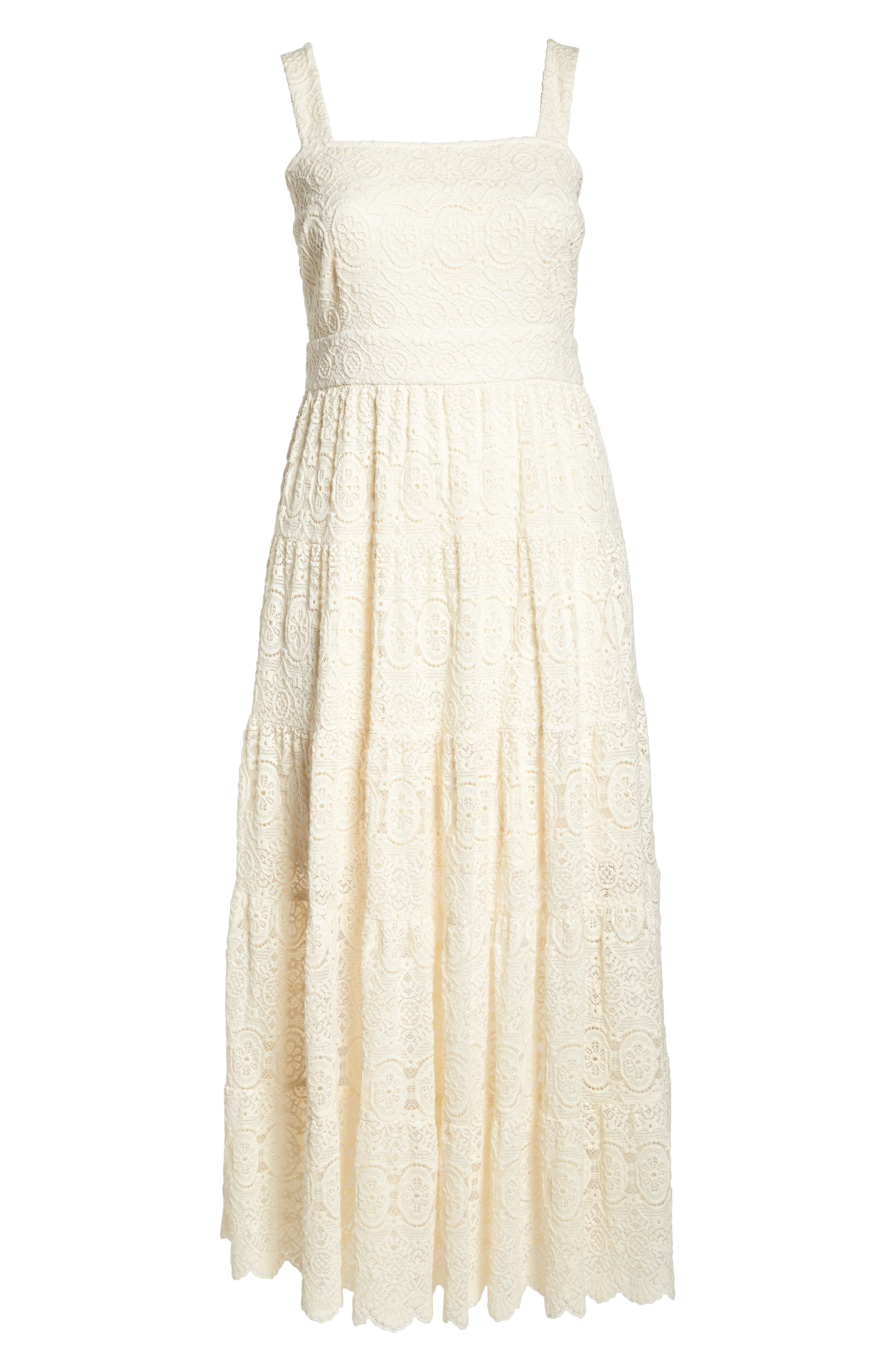 Tiered Lace Maxi Dress,                             Alternate thumbnail 7, color,
