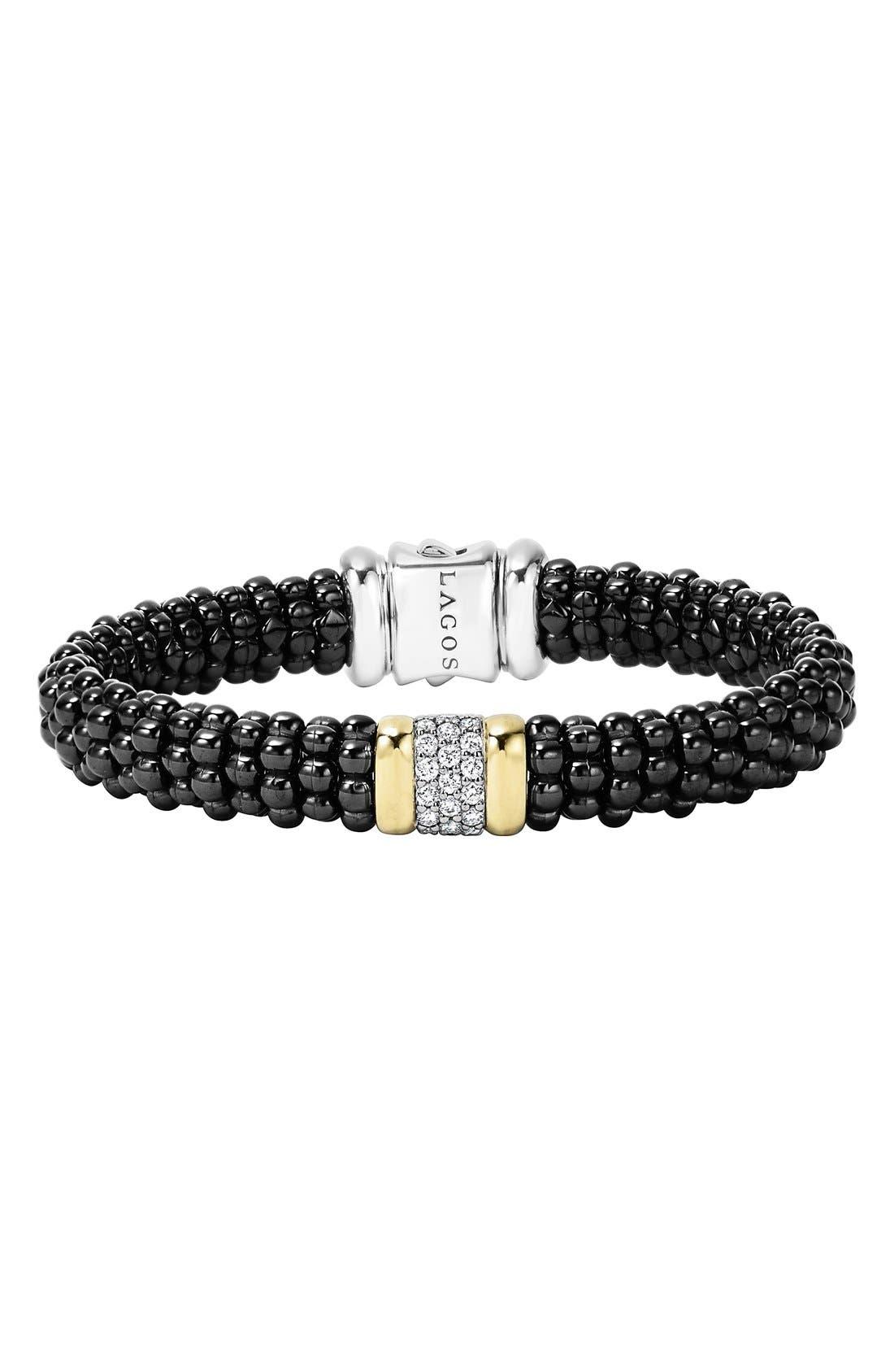 'Black Caviar' Diamond Rope Bracelet,                             Main thumbnail 1, color,                             BLACK CAVIAR/ GOLD