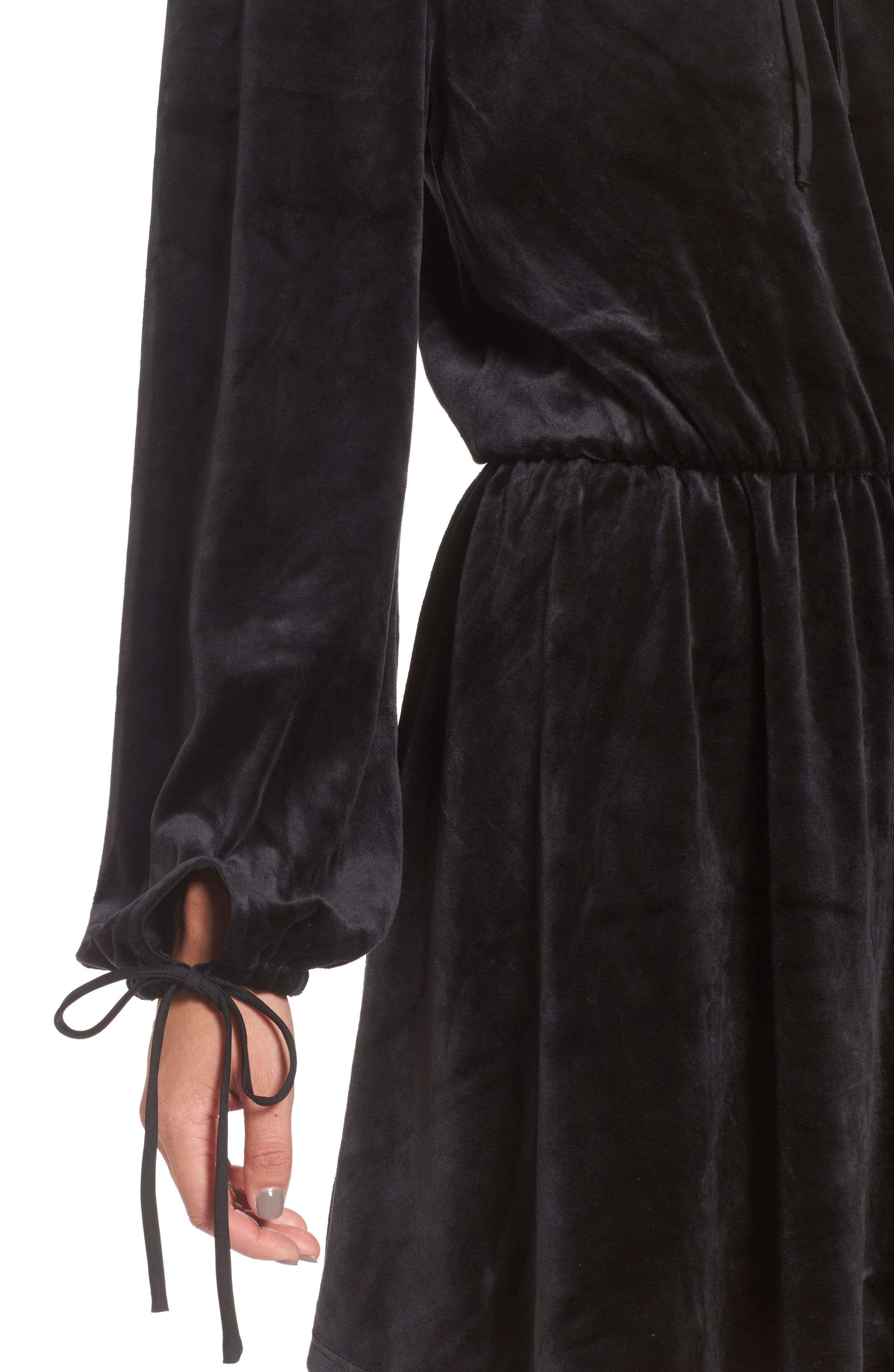 Track Off the Shoulder Velour Dress,                             Alternate thumbnail 4, color,                             009