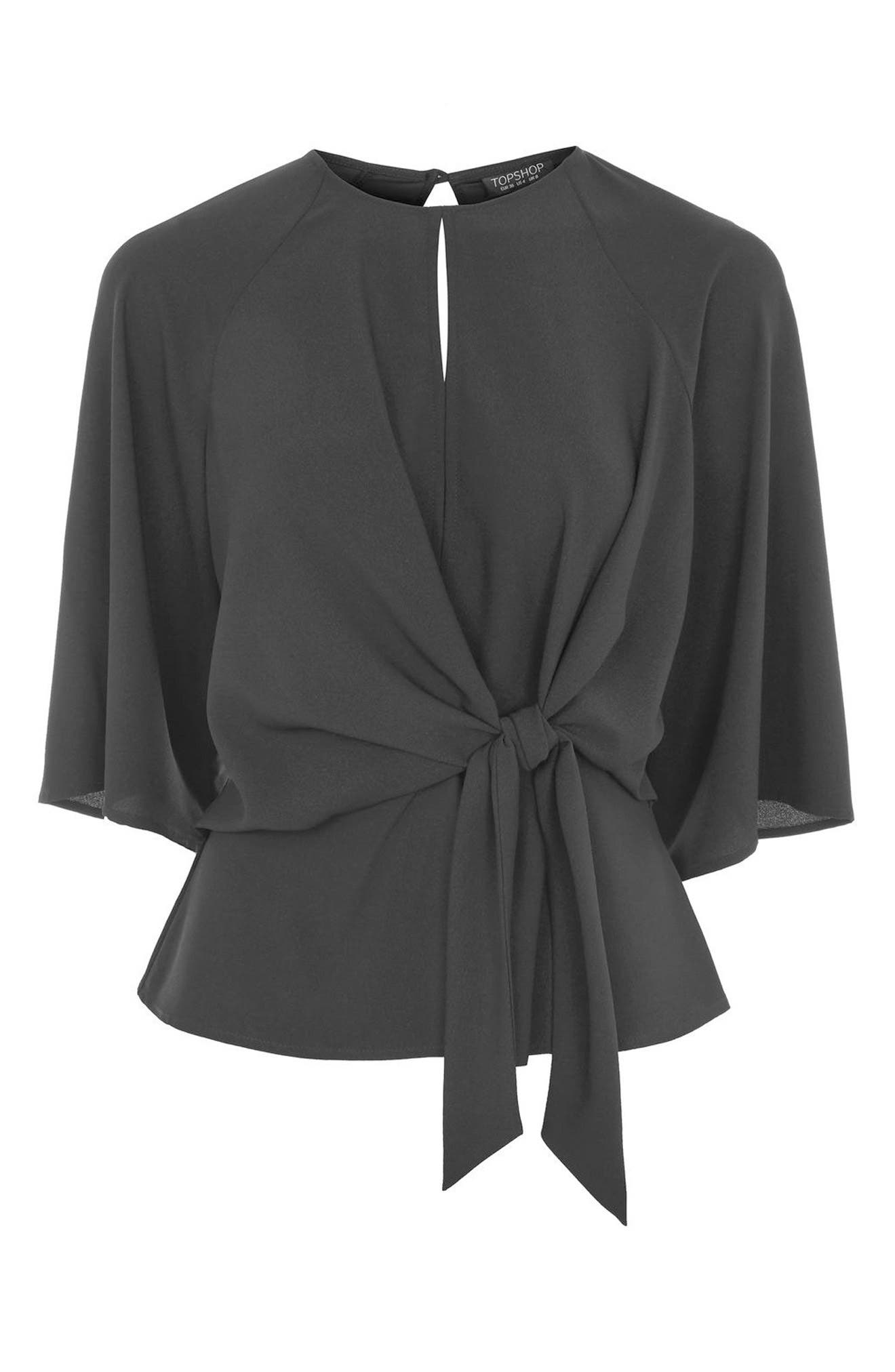 Slouchy Knot Front Blouse,                             Alternate thumbnail 4, color,                             001