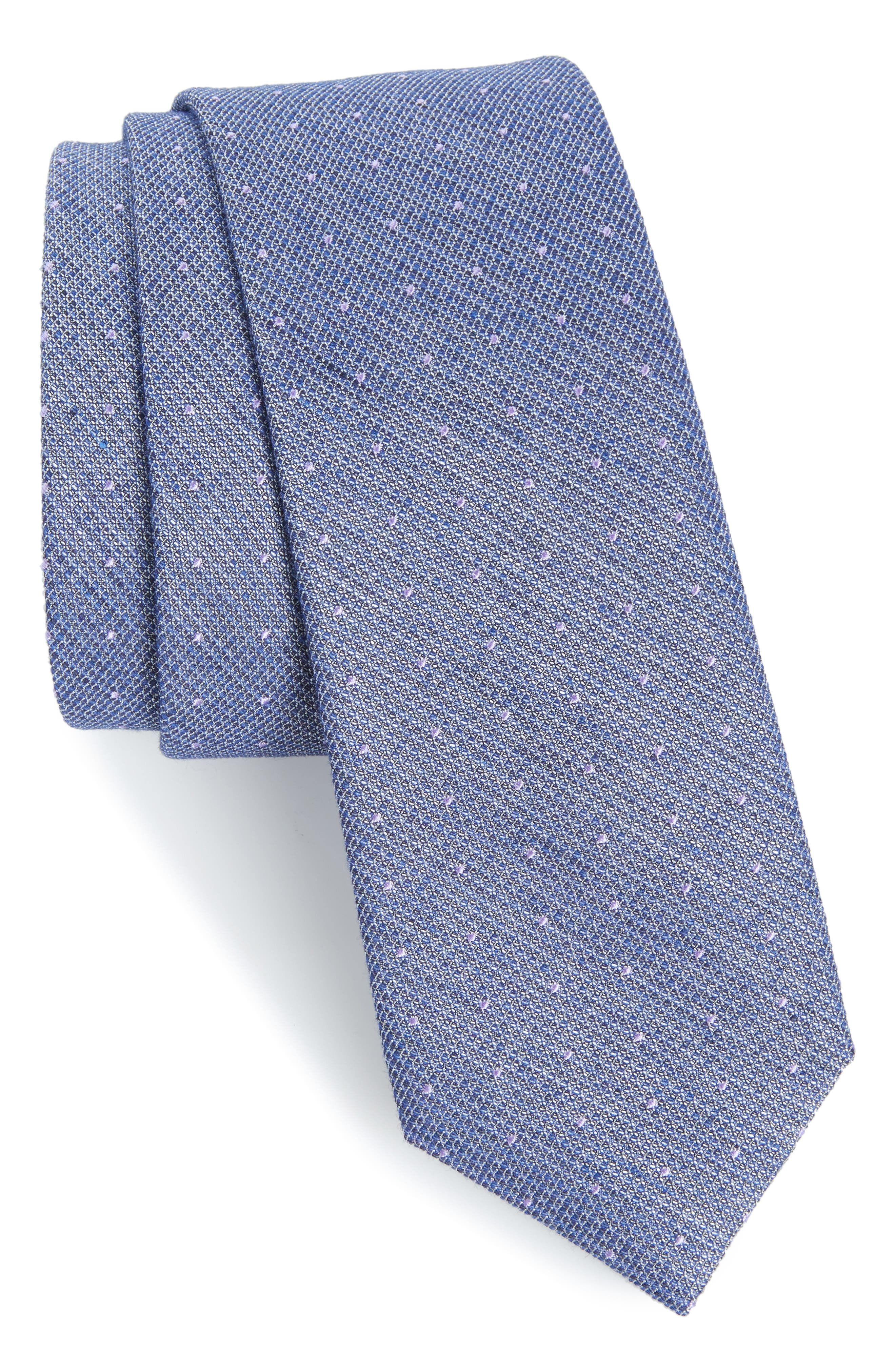 Dot Silk Blend Skinny Tie,                             Main thumbnail 3, color,