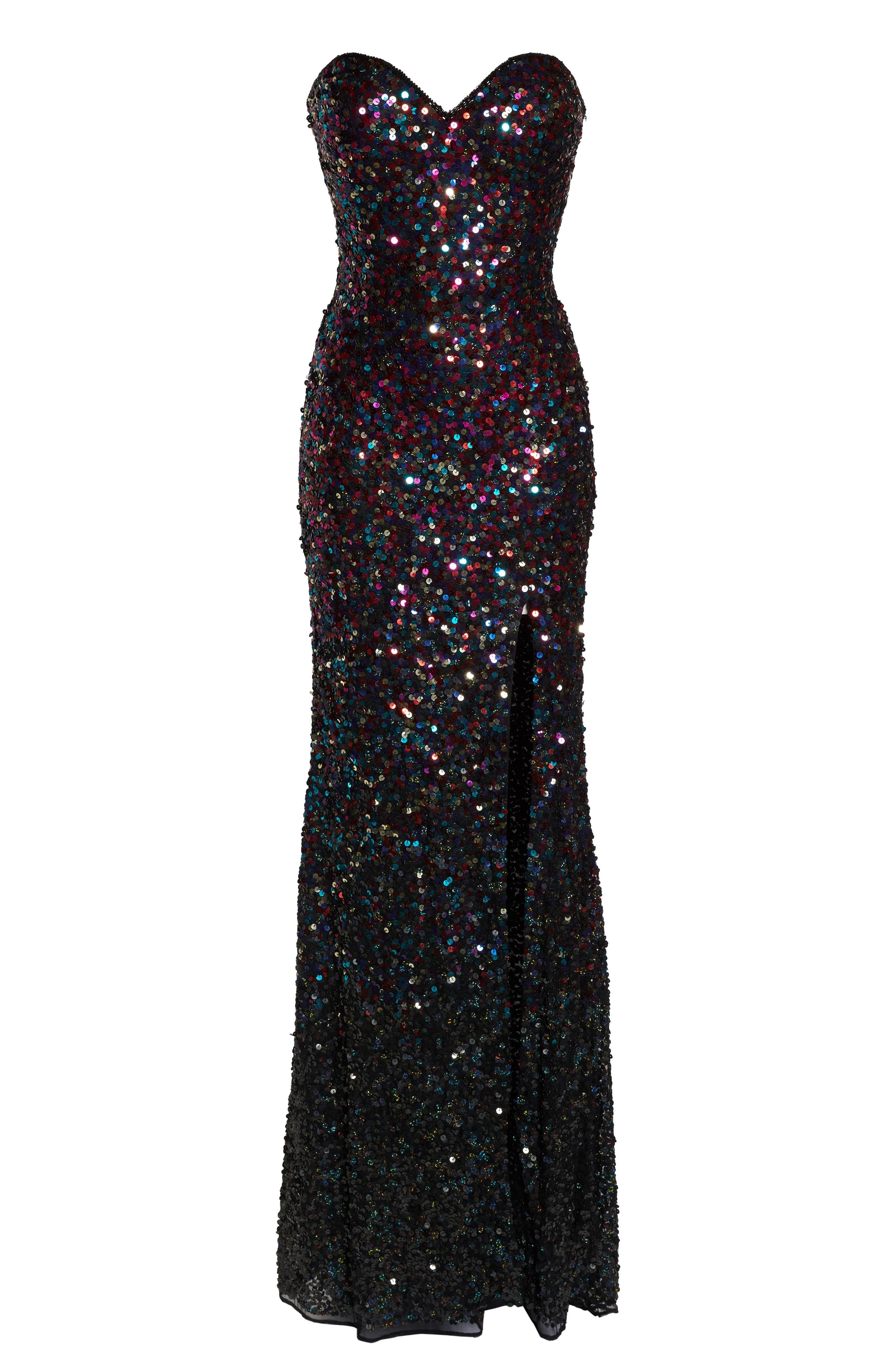 Sequin Bustier Gown,                             Alternate thumbnail 6, color,                             650