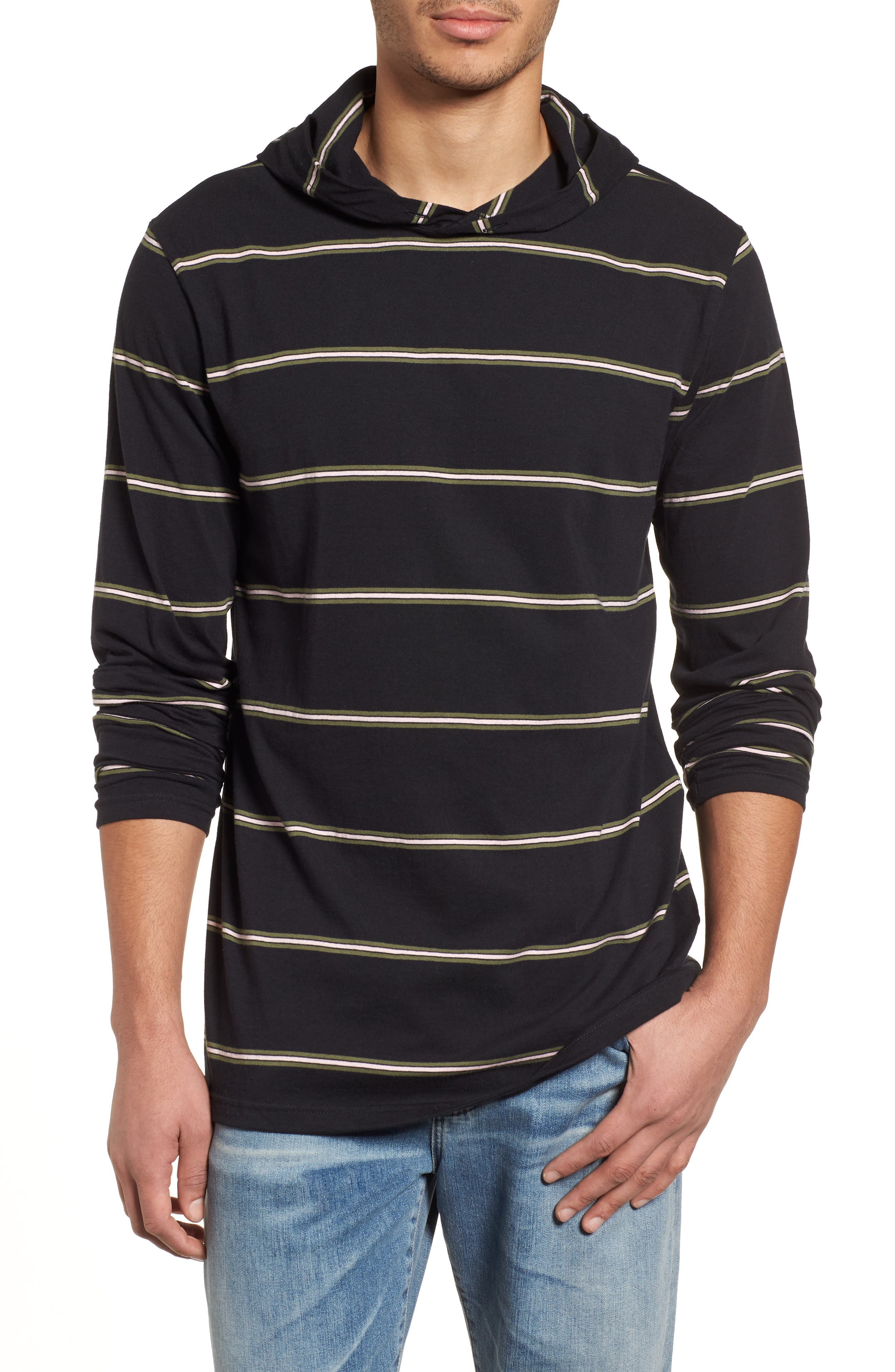Die Cut Hooded Long Sleeve T-Shirt,                             Main thumbnail 1, color,                             001