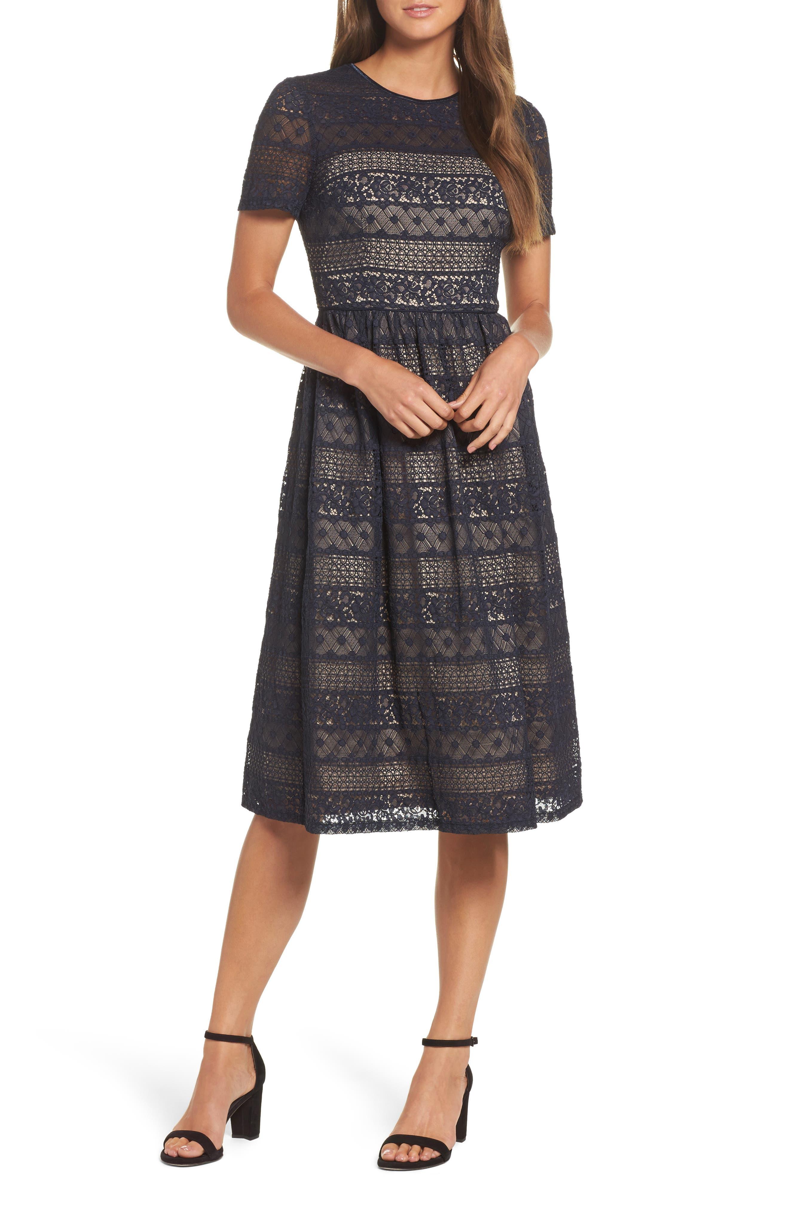 Lace Midi Dress,                         Main,                         color, 402