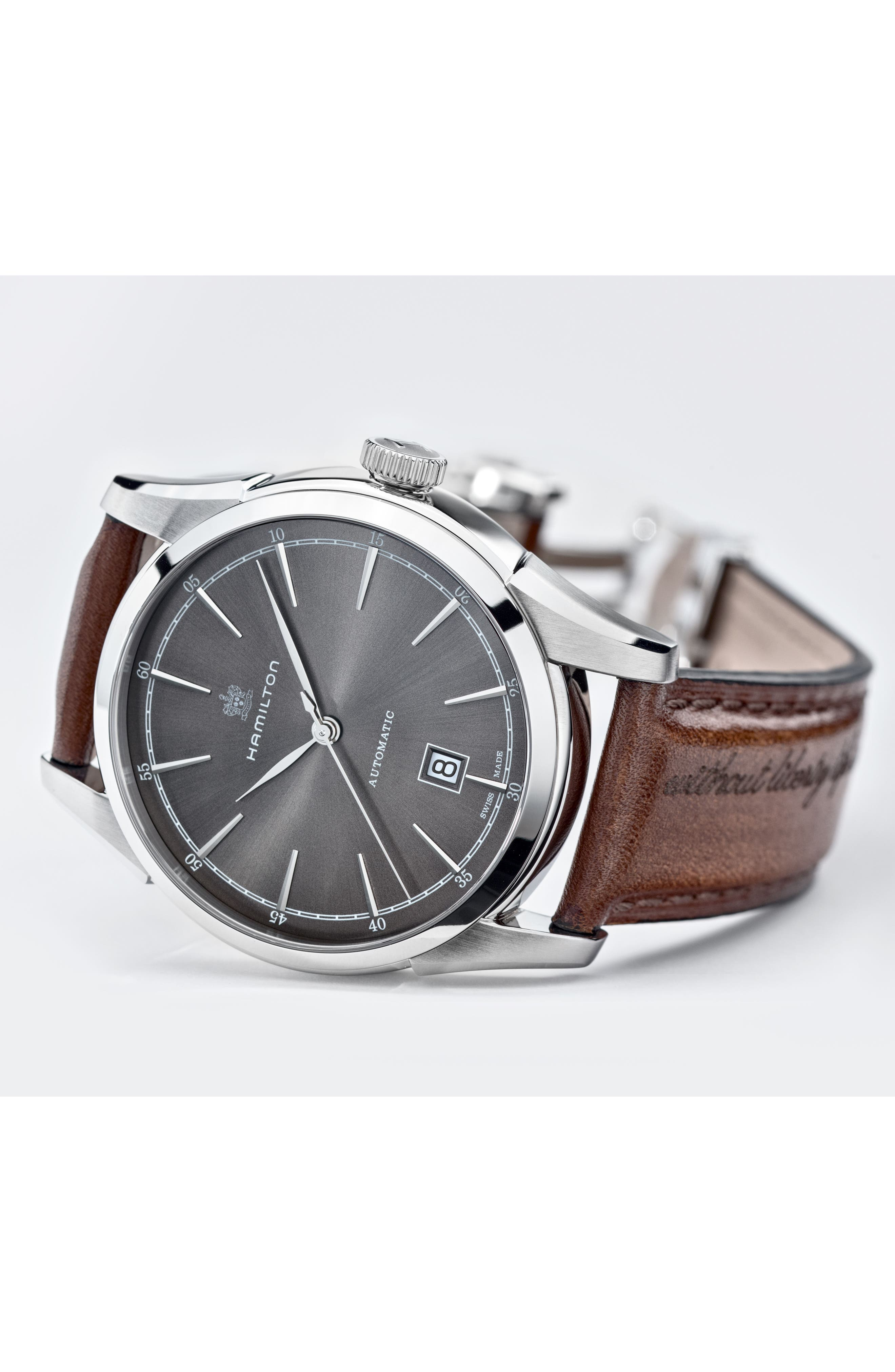 American Classic Automatic Leather Strap Watch, 42mm,                             Alternate thumbnail 6, color,                             BROWN/ GREY/ SILVER