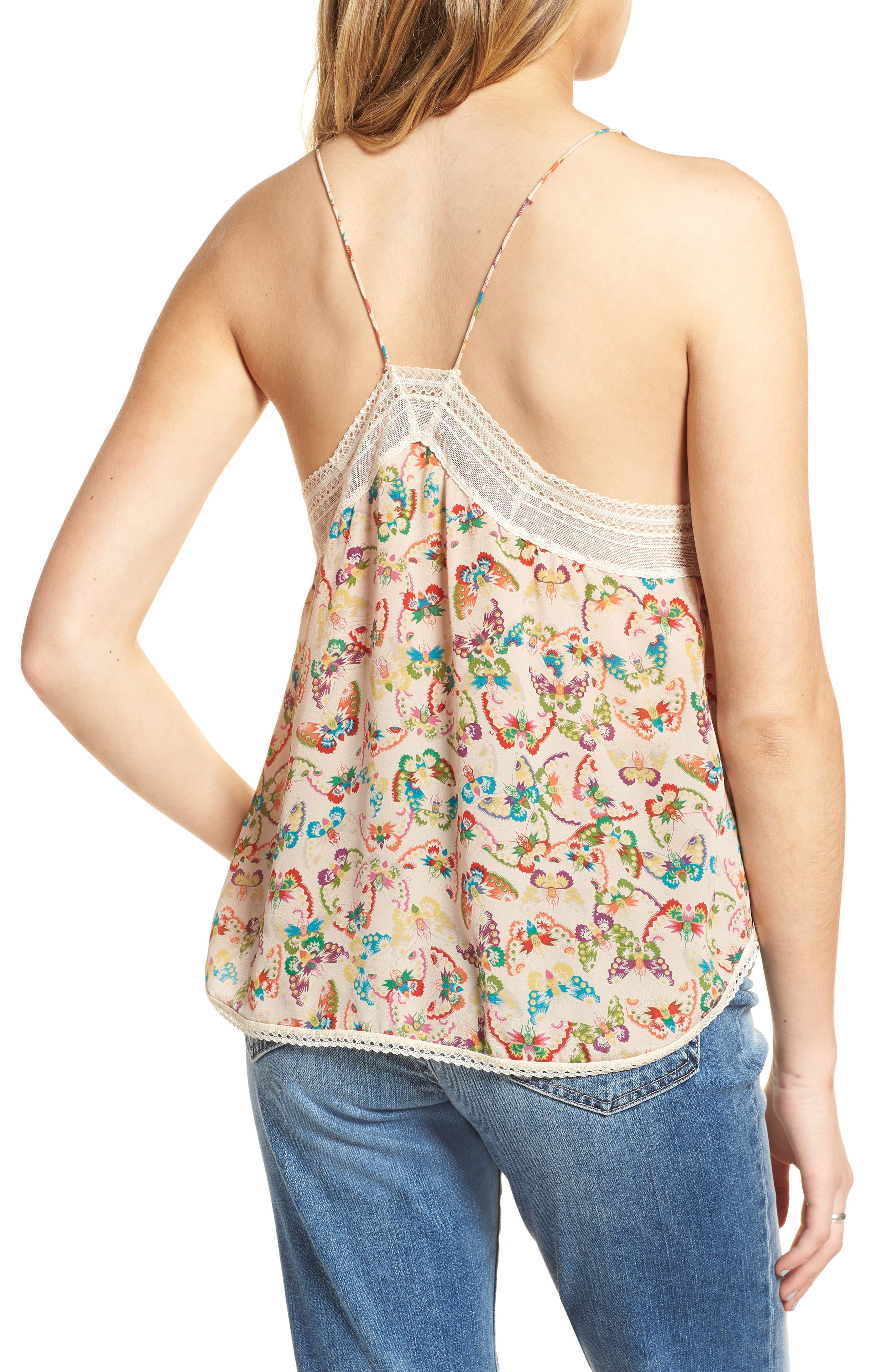 Christy Butterfly Silk Camisole,                             Alternate thumbnail 2, color,