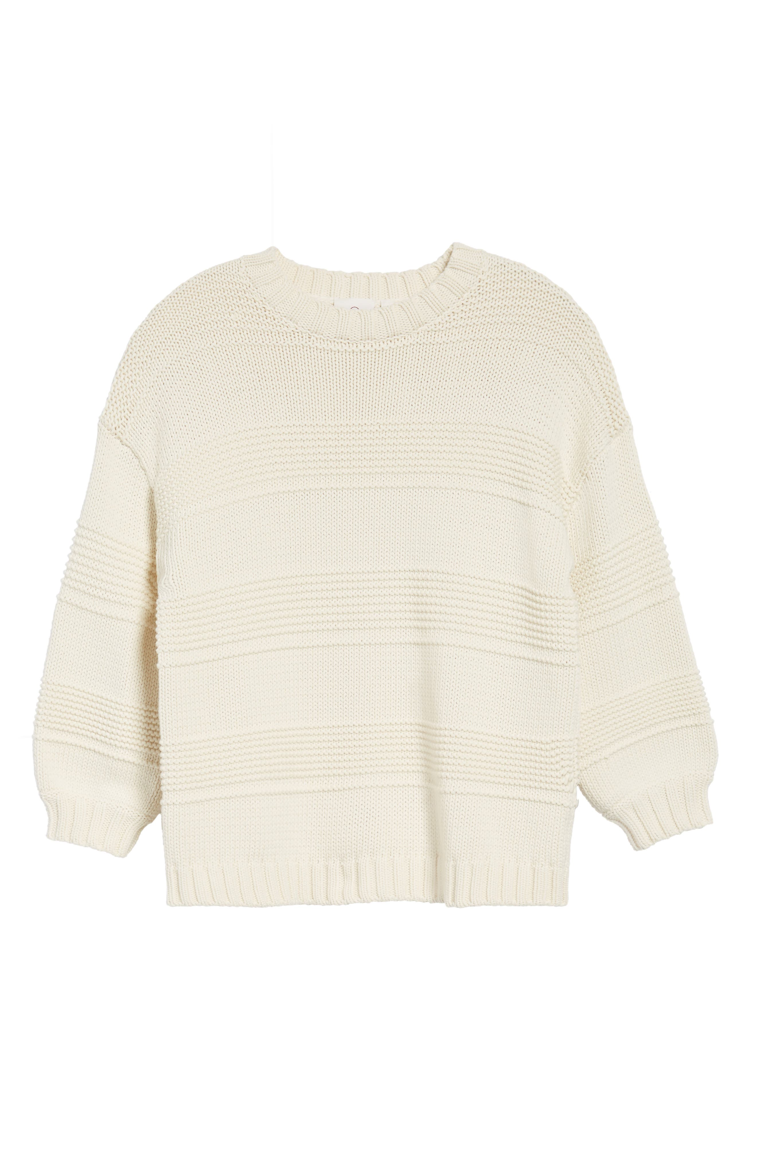 Sabrina Crewneck Sweater,                             Alternate thumbnail 6, color,                             BRIGHT CREAM