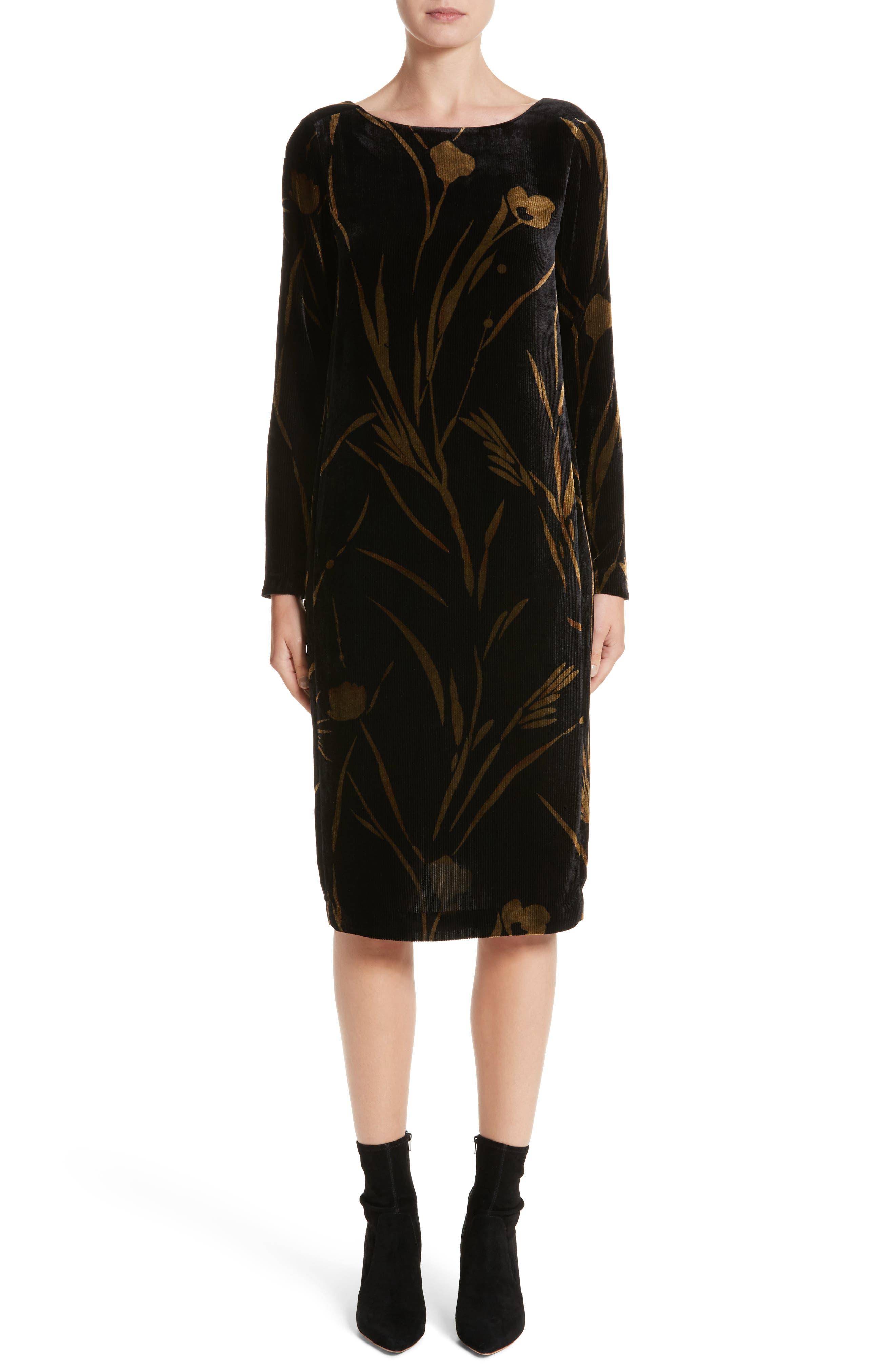 Loribel Golden Bloom Velvet Dress,                             Main thumbnail 1, color,