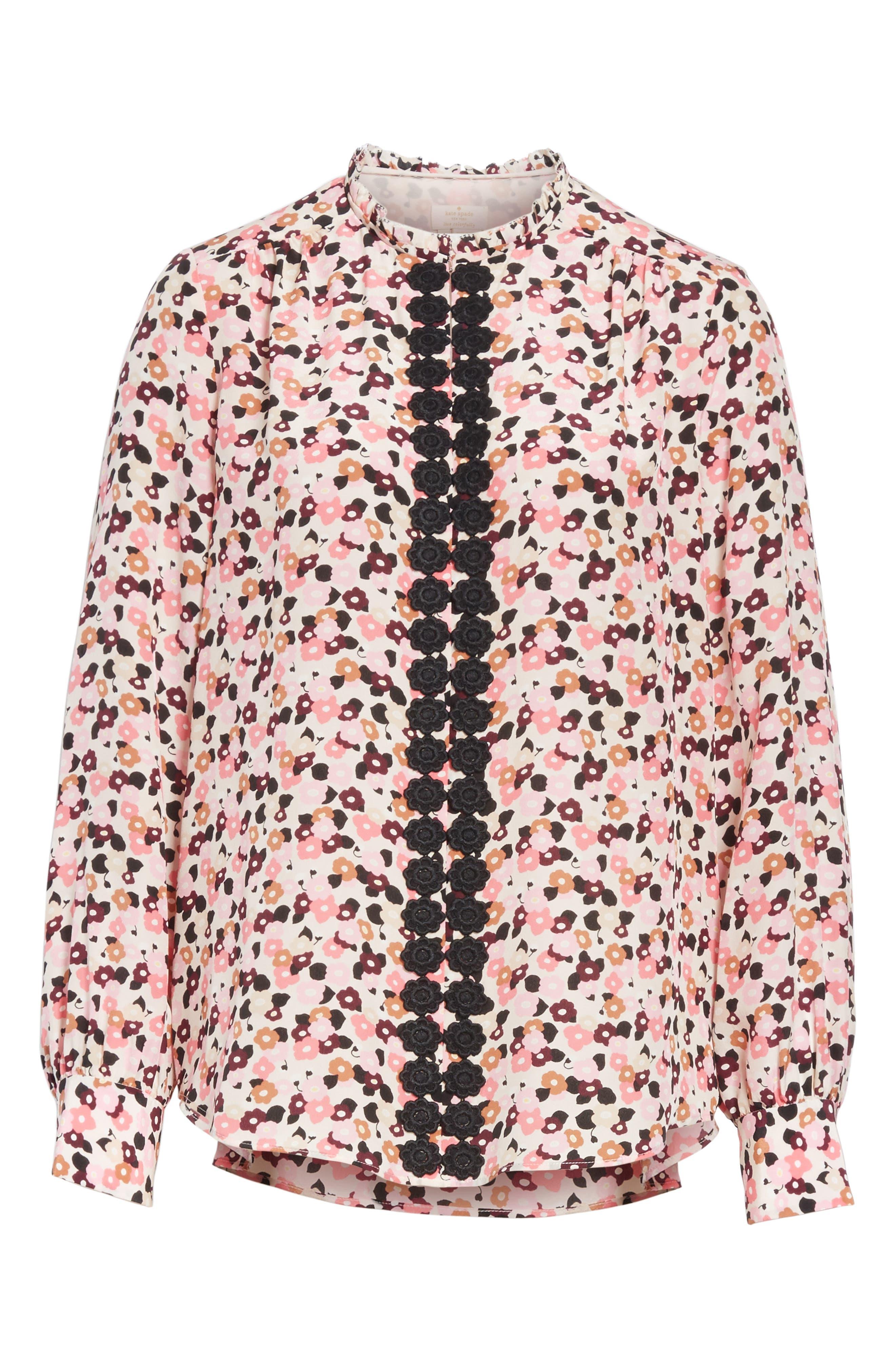 bloom print silk blouse,                             Alternate thumbnail 6, color,                             672