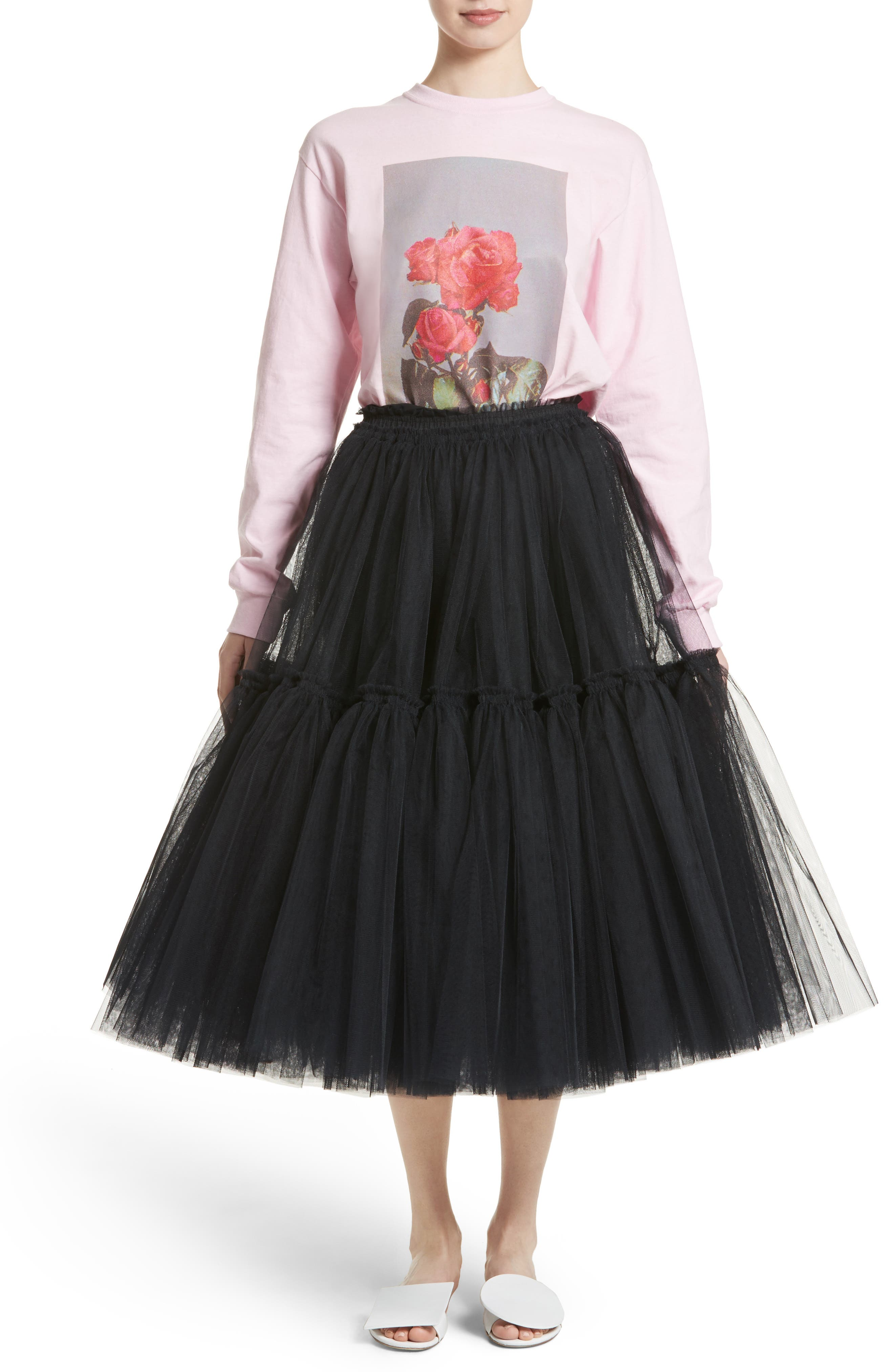 Gathered Tulle Skirt,                             Alternate thumbnail 6, color,                             001