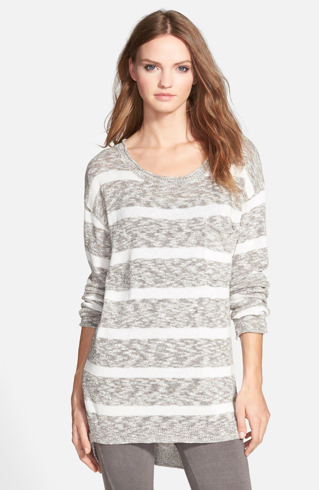 BP. Stripe Slub Knit Pullover,                             Main thumbnail 1, color,                             001