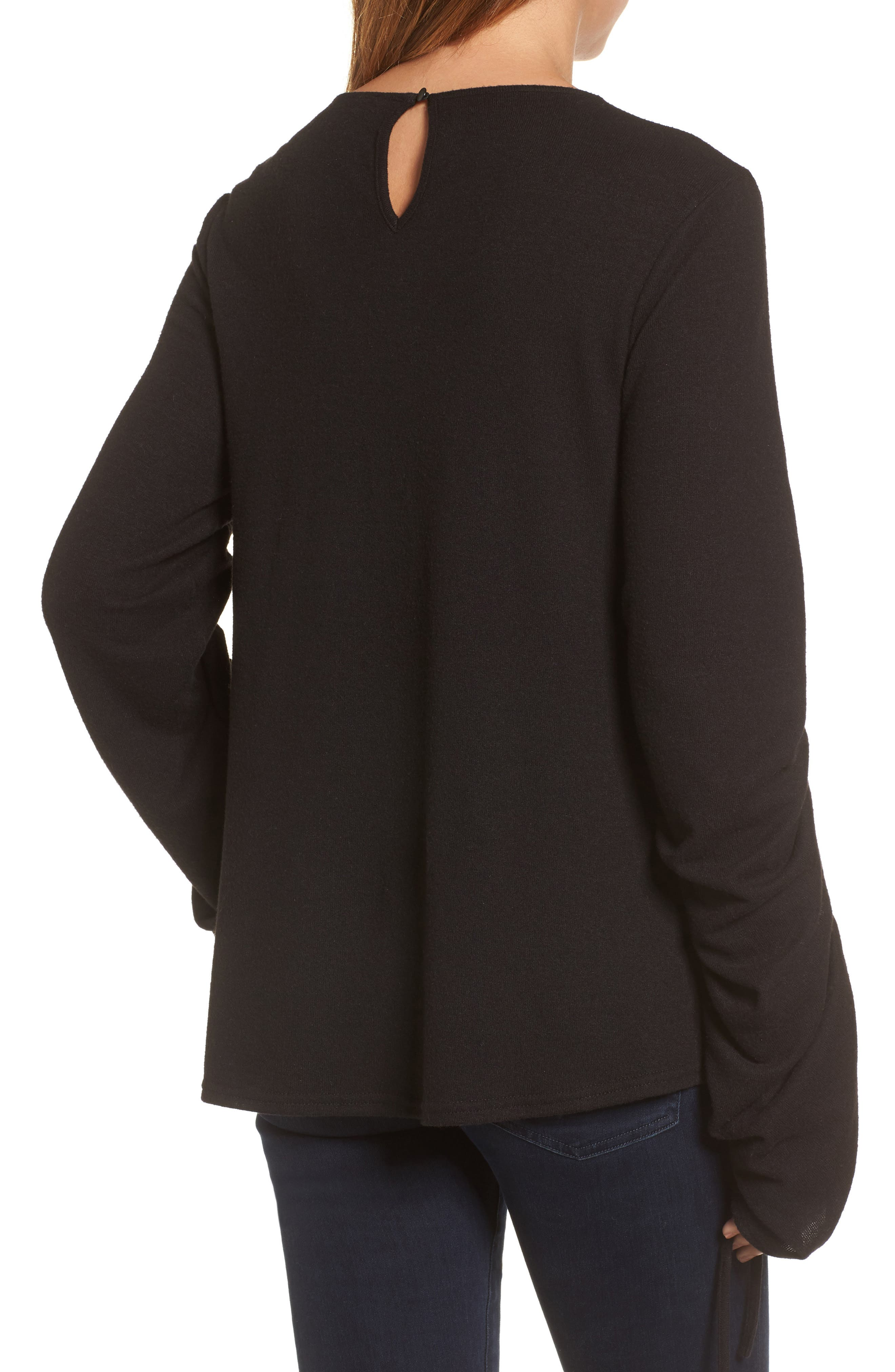 Brushed Jersey Ruched Sleeve Top,                             Alternate thumbnail 3, color,