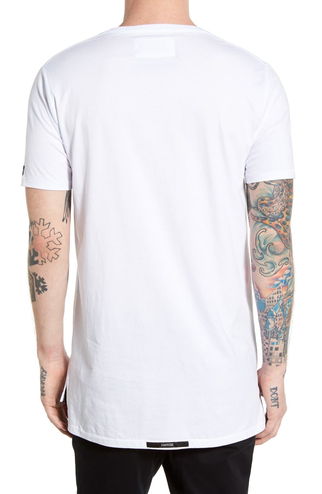 Flintlock Longline T-Shirt,                             Alternate thumbnail 3, color,                             WHITE