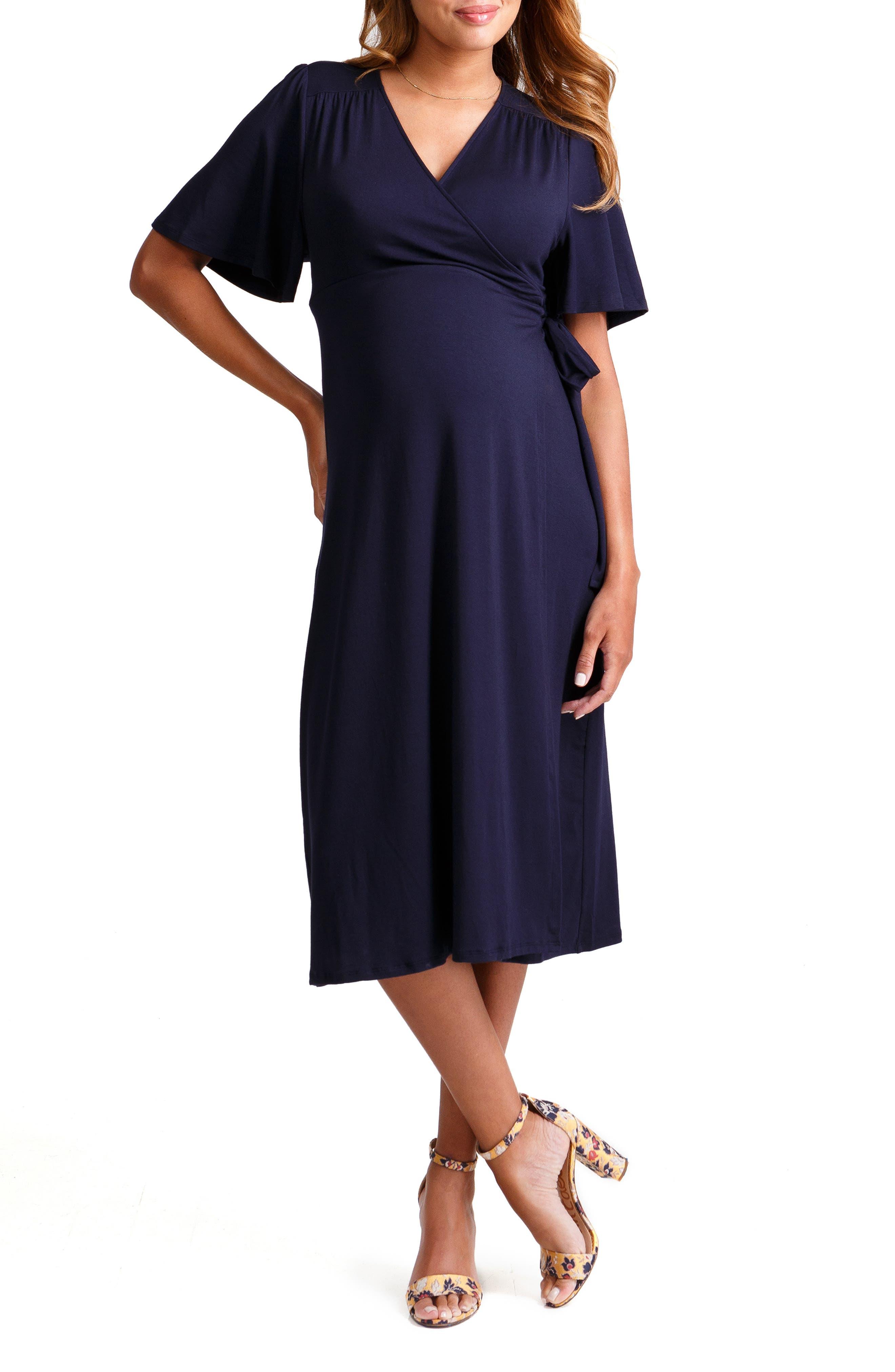 Ingrid & Isabel Flutter Sleeve Knit Wrap Maternity/nursing Dress, Blue