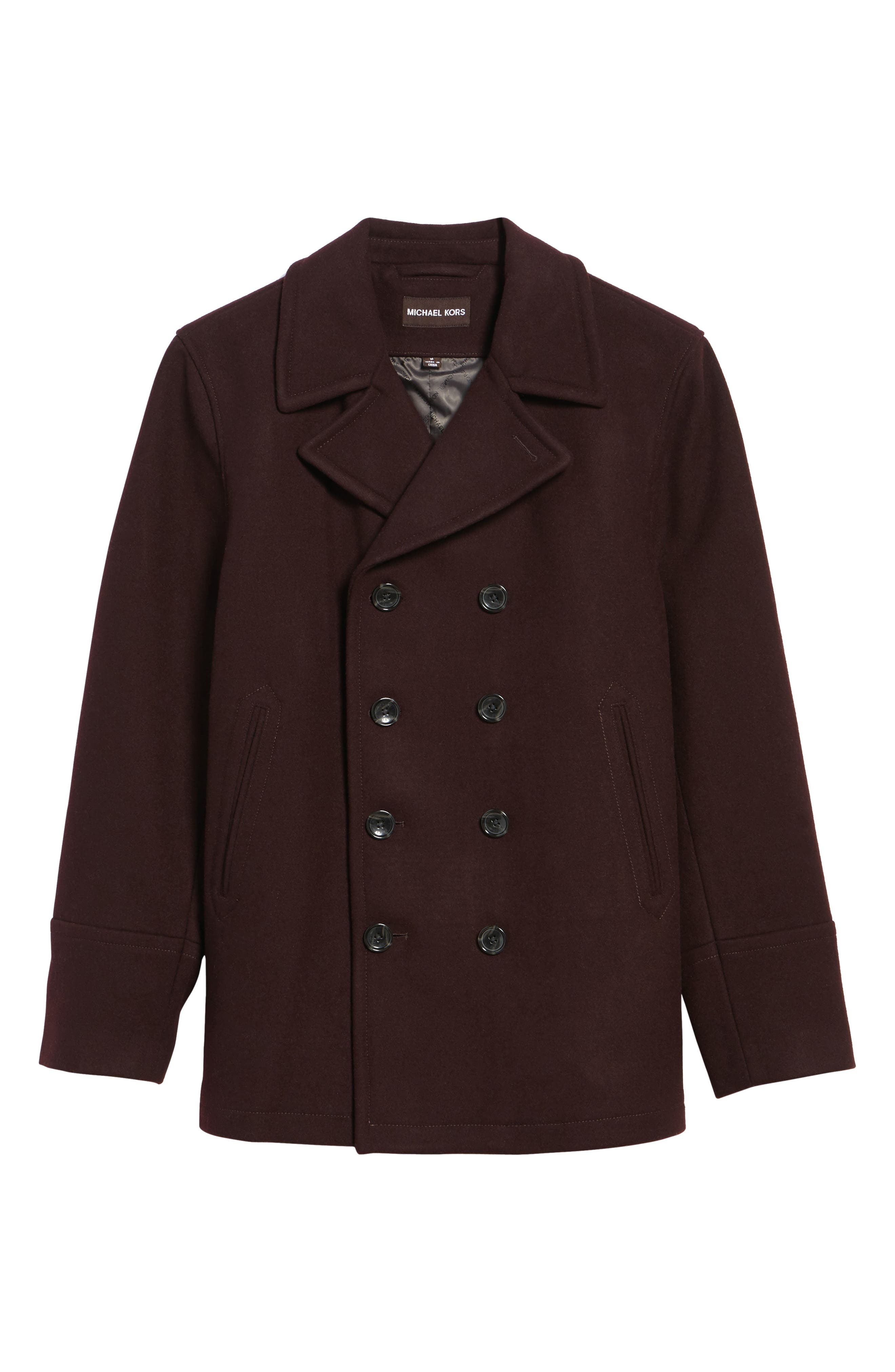 Wool Blend Double Breasted Peacoat,                             Alternate thumbnail 65, color,