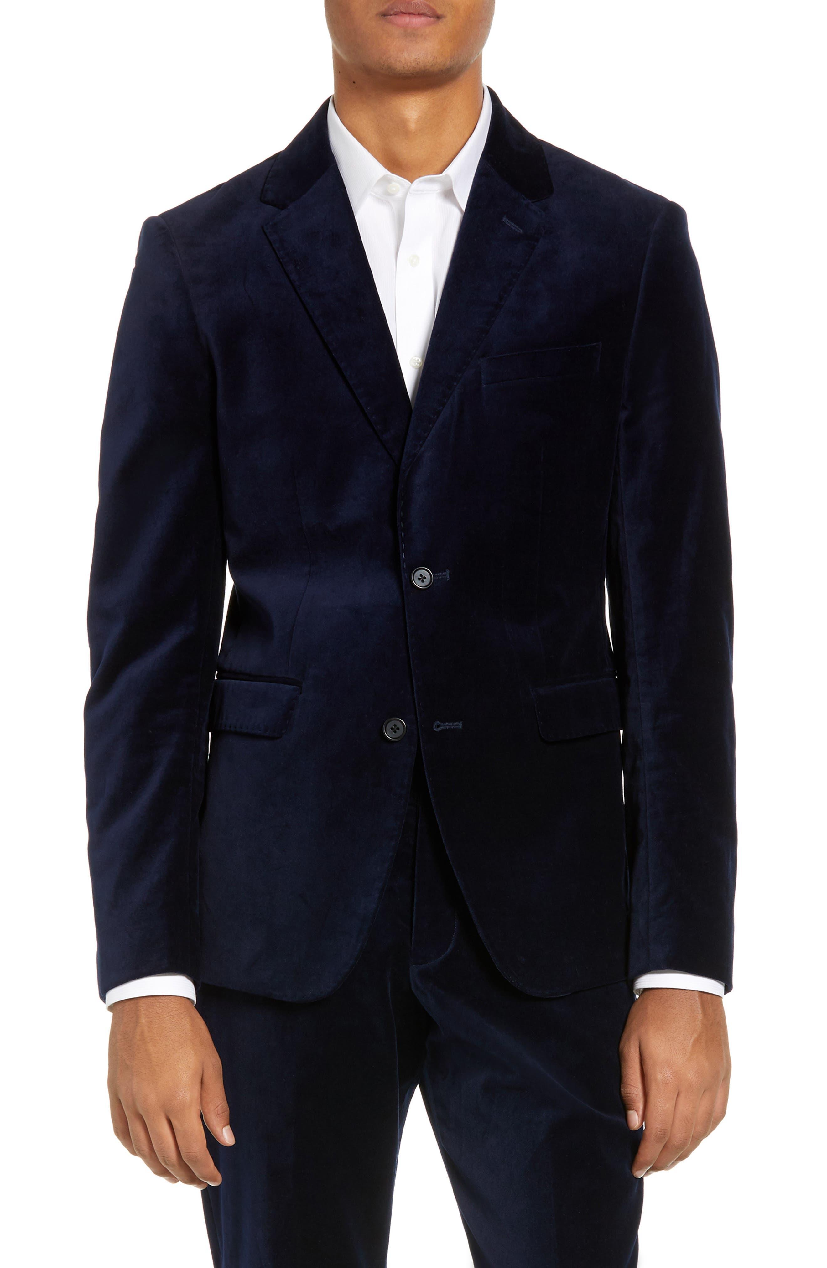 FRENCH CONNECTION,                             Regular Fit Plush Velveteen Blazer,                             Main thumbnail 1, color,                             BLUE BLOOD