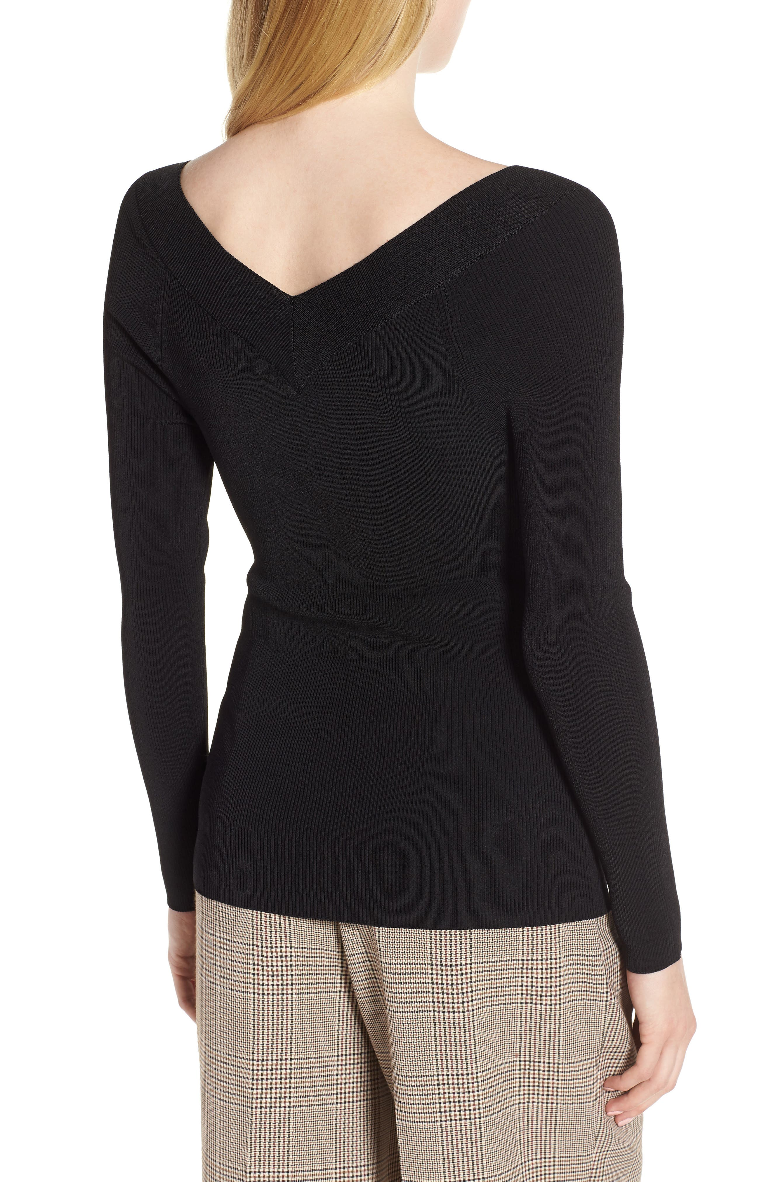 Skivvy Double-V Sweater,                             Alternate thumbnail 2, color,                             001