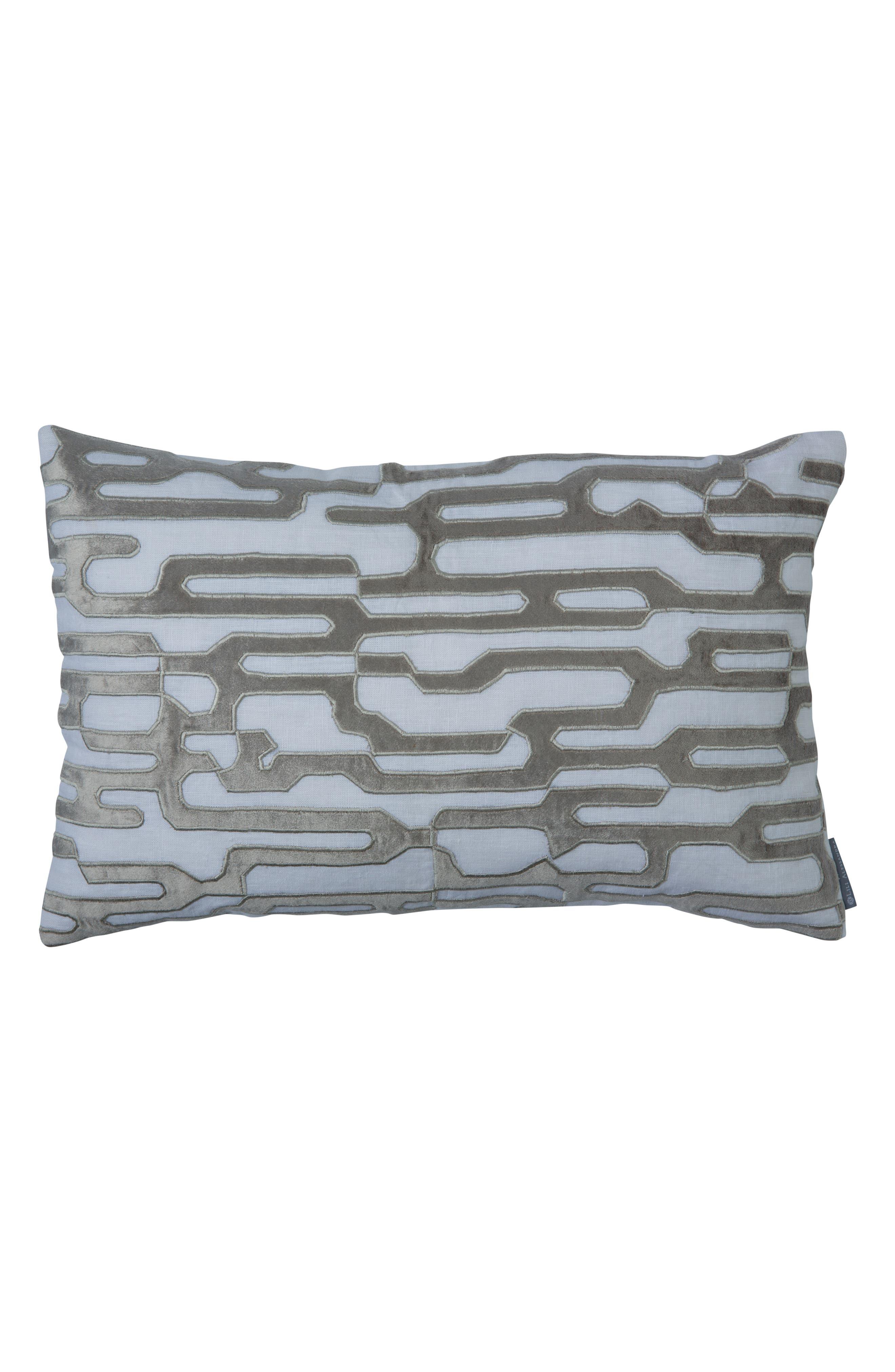 Christian Linen & Velvet Accent Pillow,                             Main thumbnail 1, color,                             GRAY